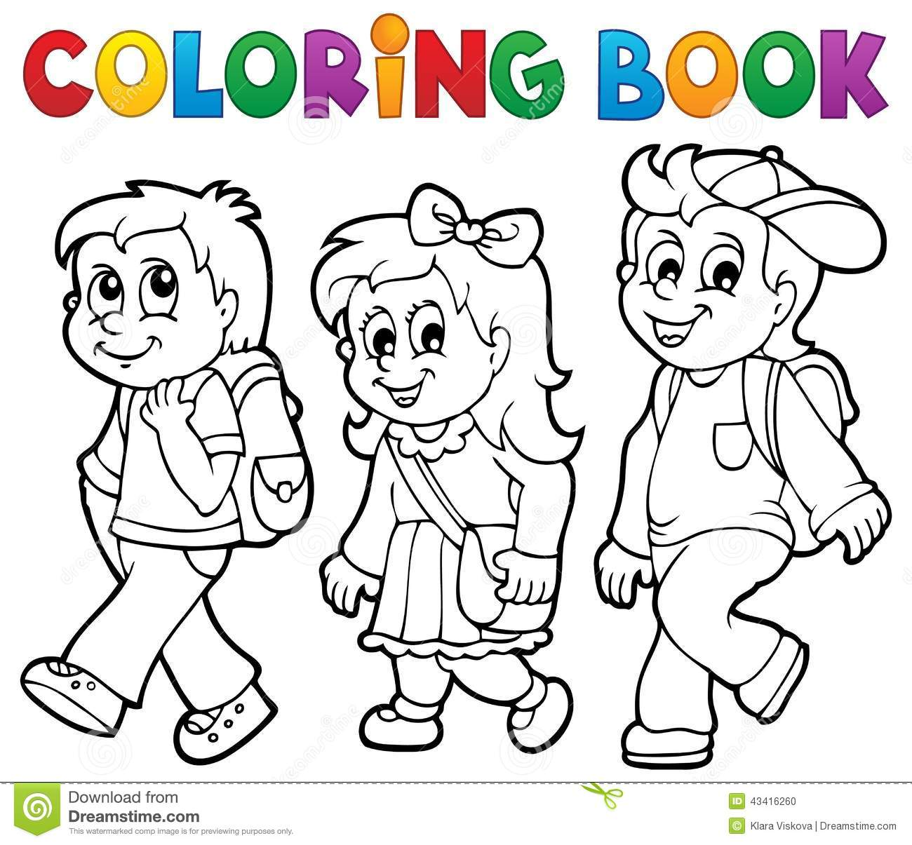 Coloring Book School Kids Theme 2 Stock Vector