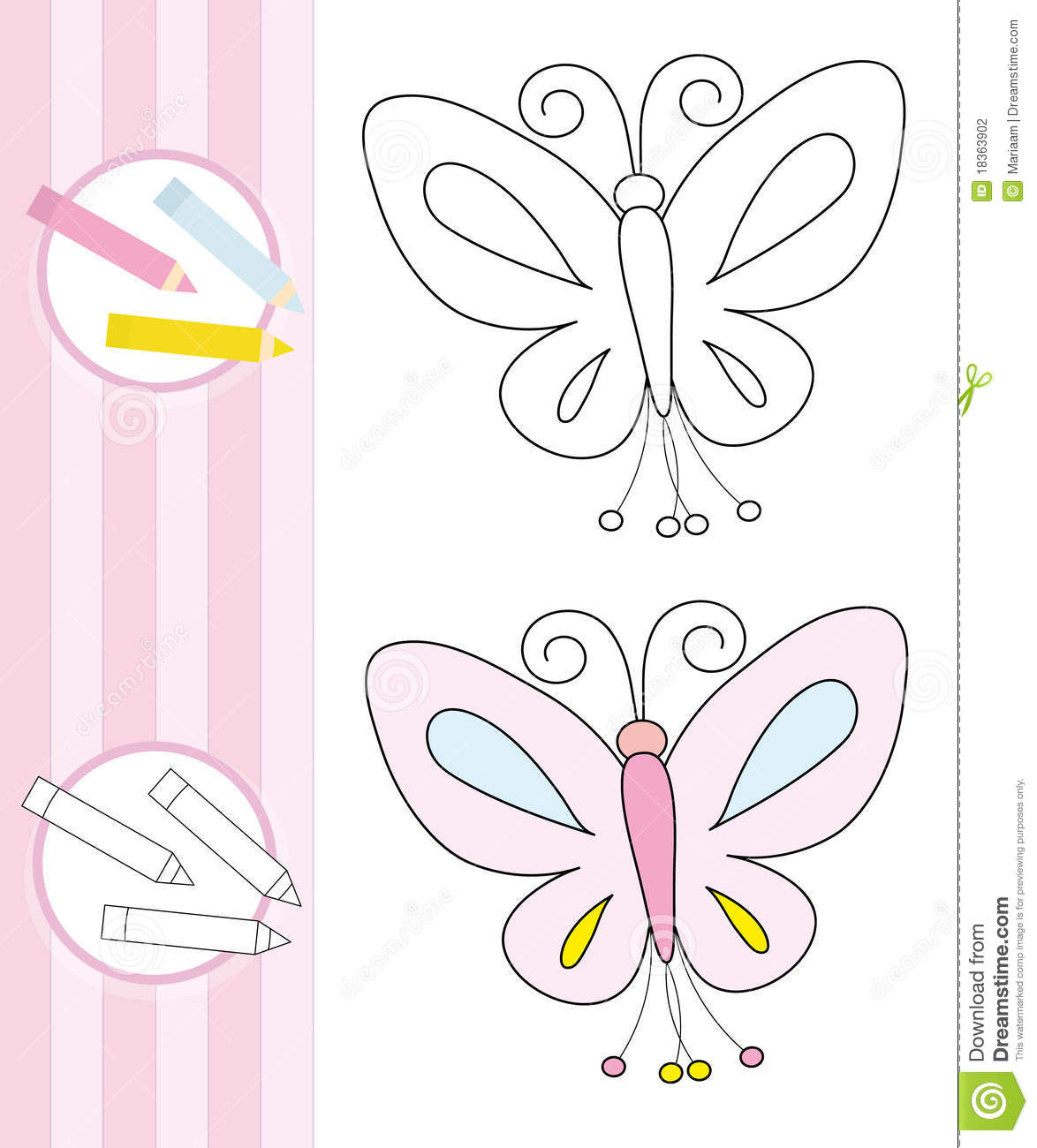 Coloring Book Sketch Butterfly Stock Photography Image