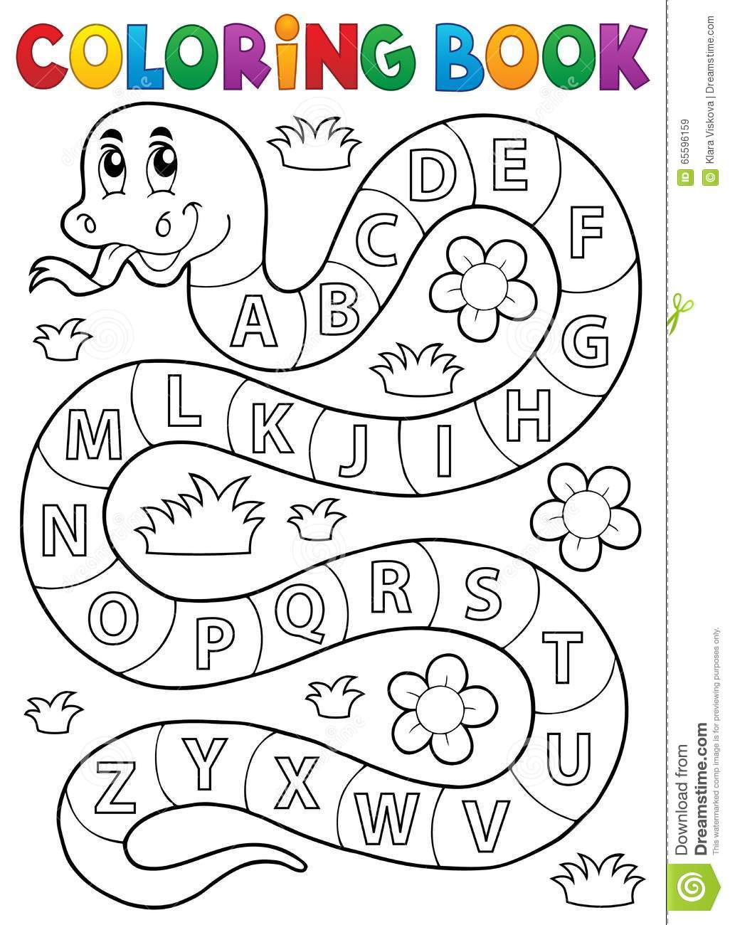 Coloring Book Snake With Alphabet Theme Stock Vector
