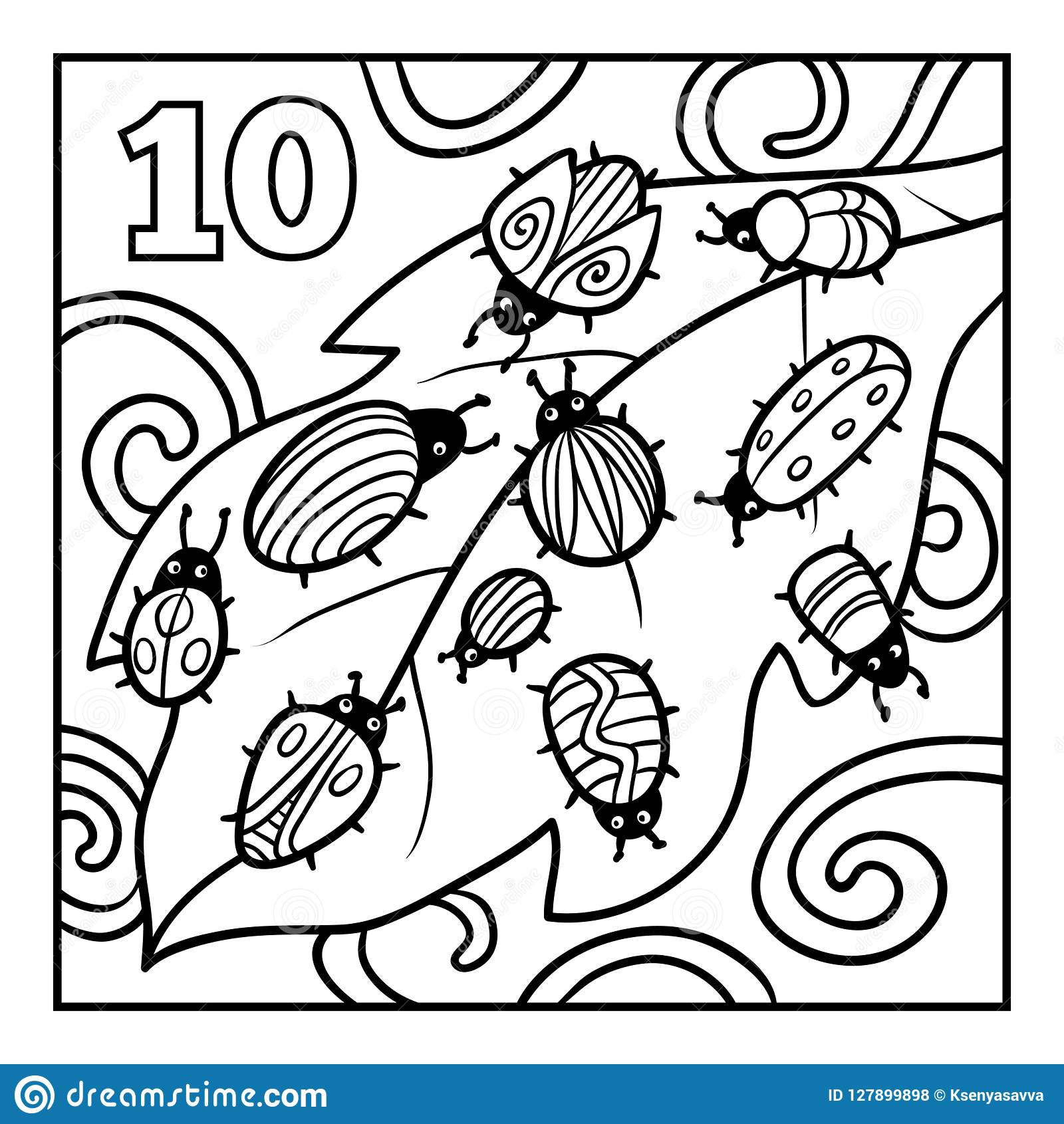 Coloring Book Ten Bugs Stock Vector Illustration Of