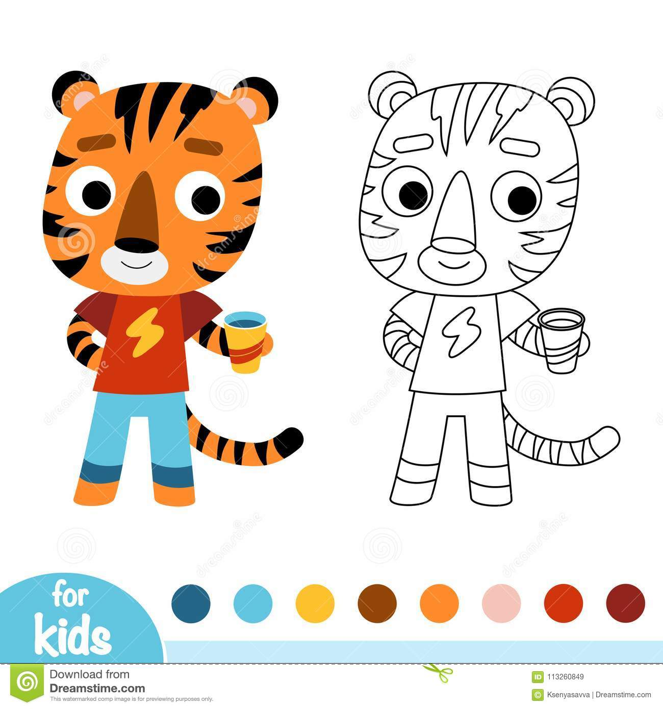 Coloring Book Tiger Stock Vector Illustration Of
