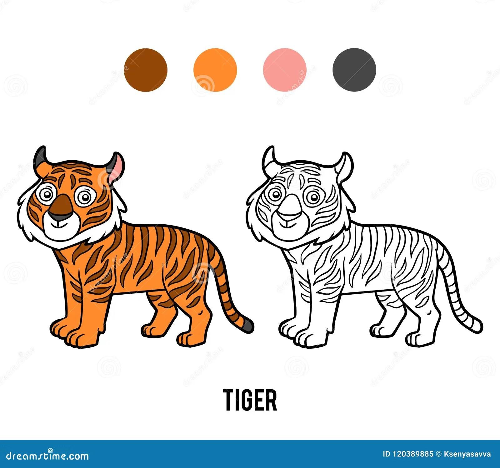 Coloring Book Tiger Stock Vector Illustration Of Hunter