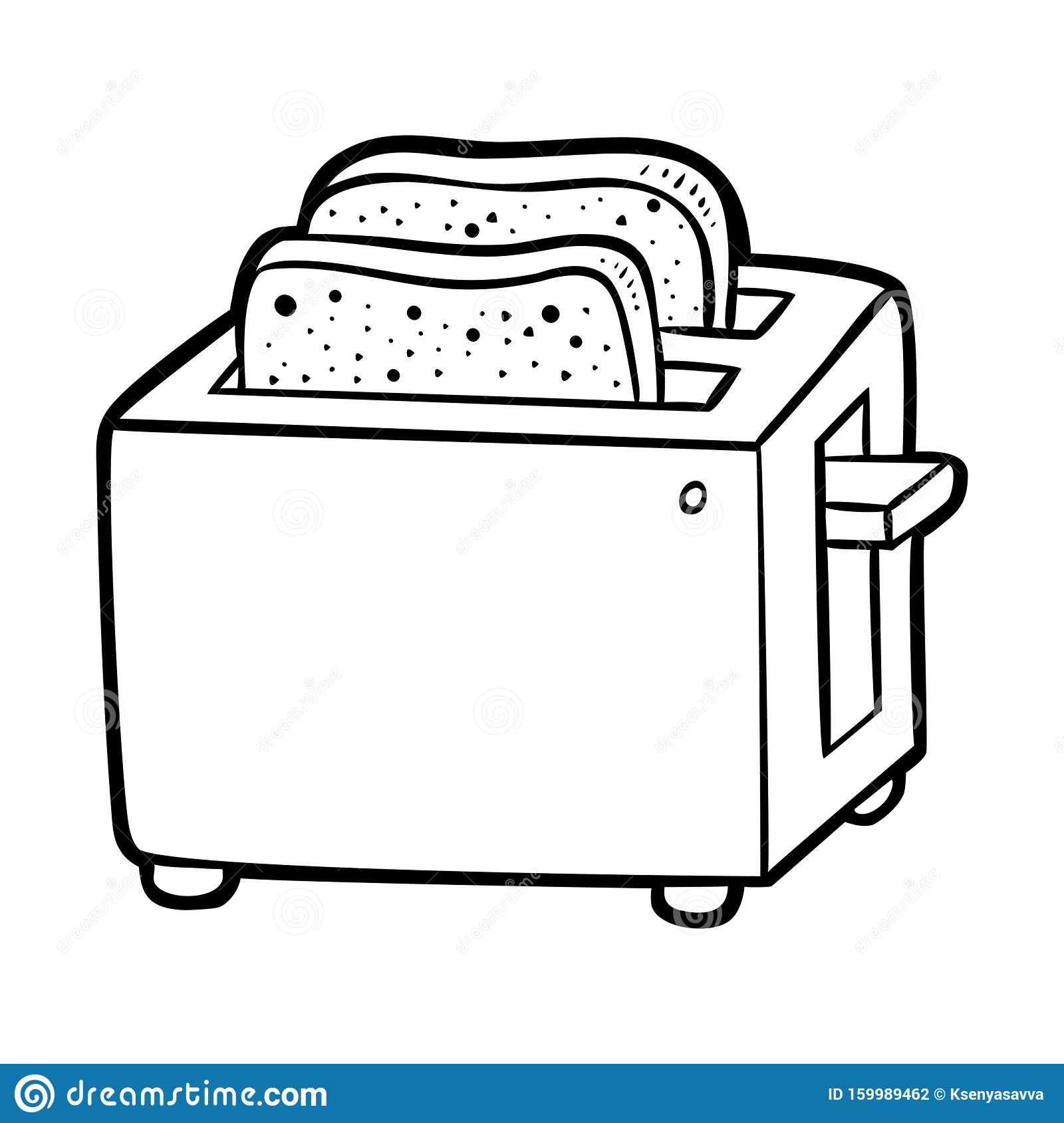 Coloring Book Two Slice Toaster Black And White Cartoon