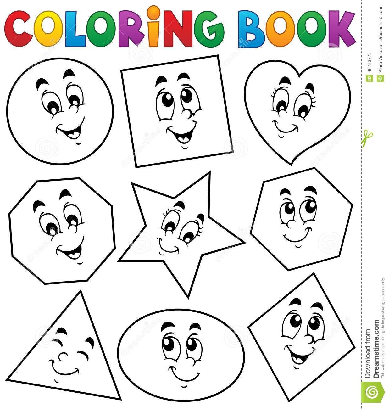 Coloring Book Various Shapes 1 Stock Vector