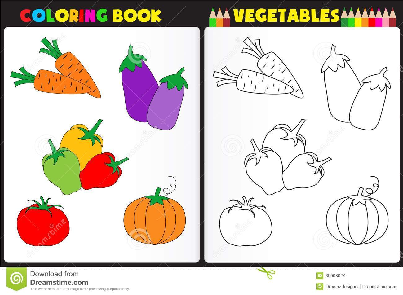 Coloring Book Vegetables Stock Vector