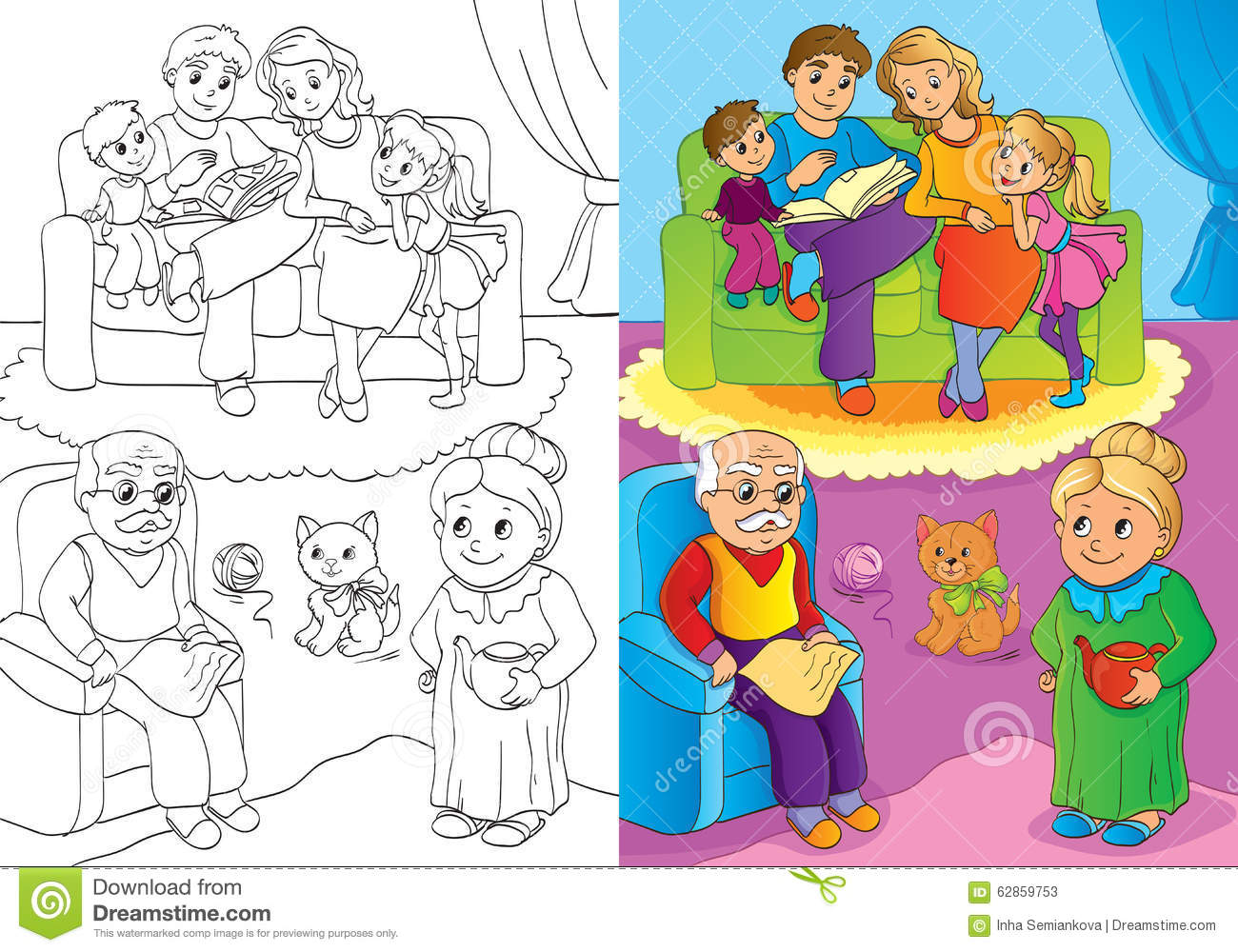 Coloring Book Of Whole Family Is At Home Stock