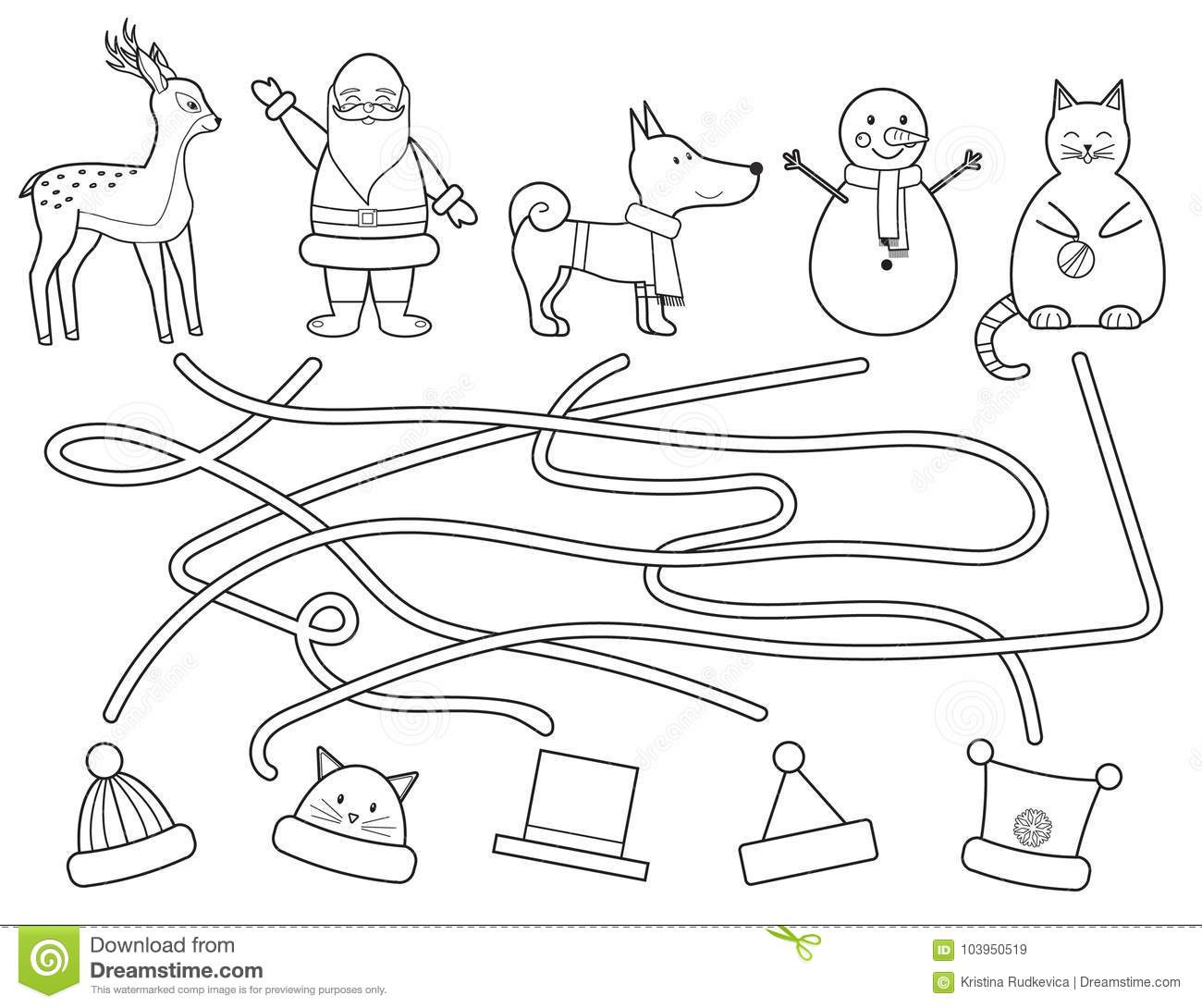 Coloring Children S Christmas Maze Educational Game Stock Vector