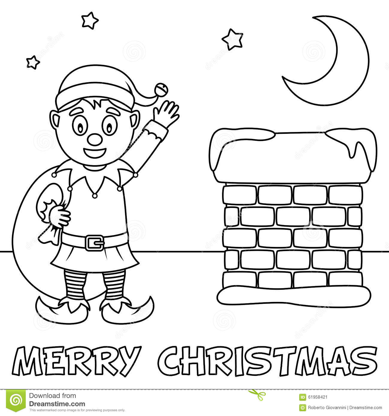 Coloring Christmas Card With Cute Elf Stock Vector