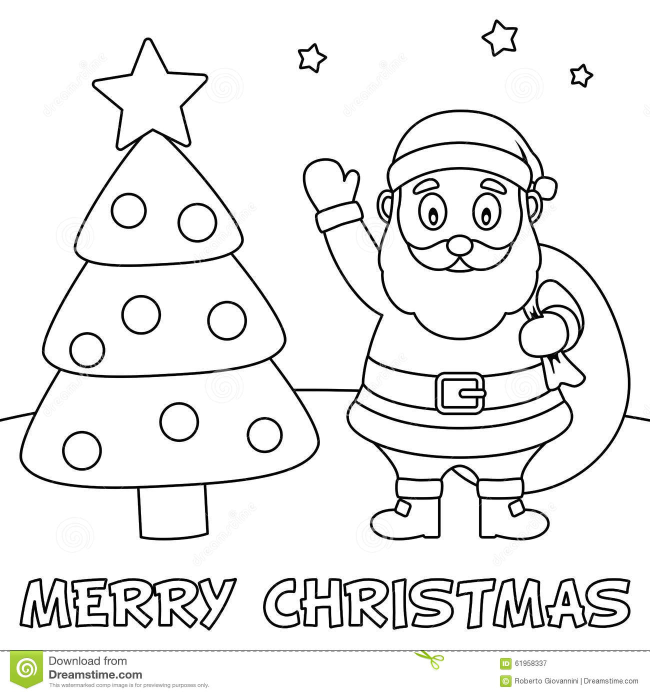Coloring Christmas Card With Santa Claus Stock Vector