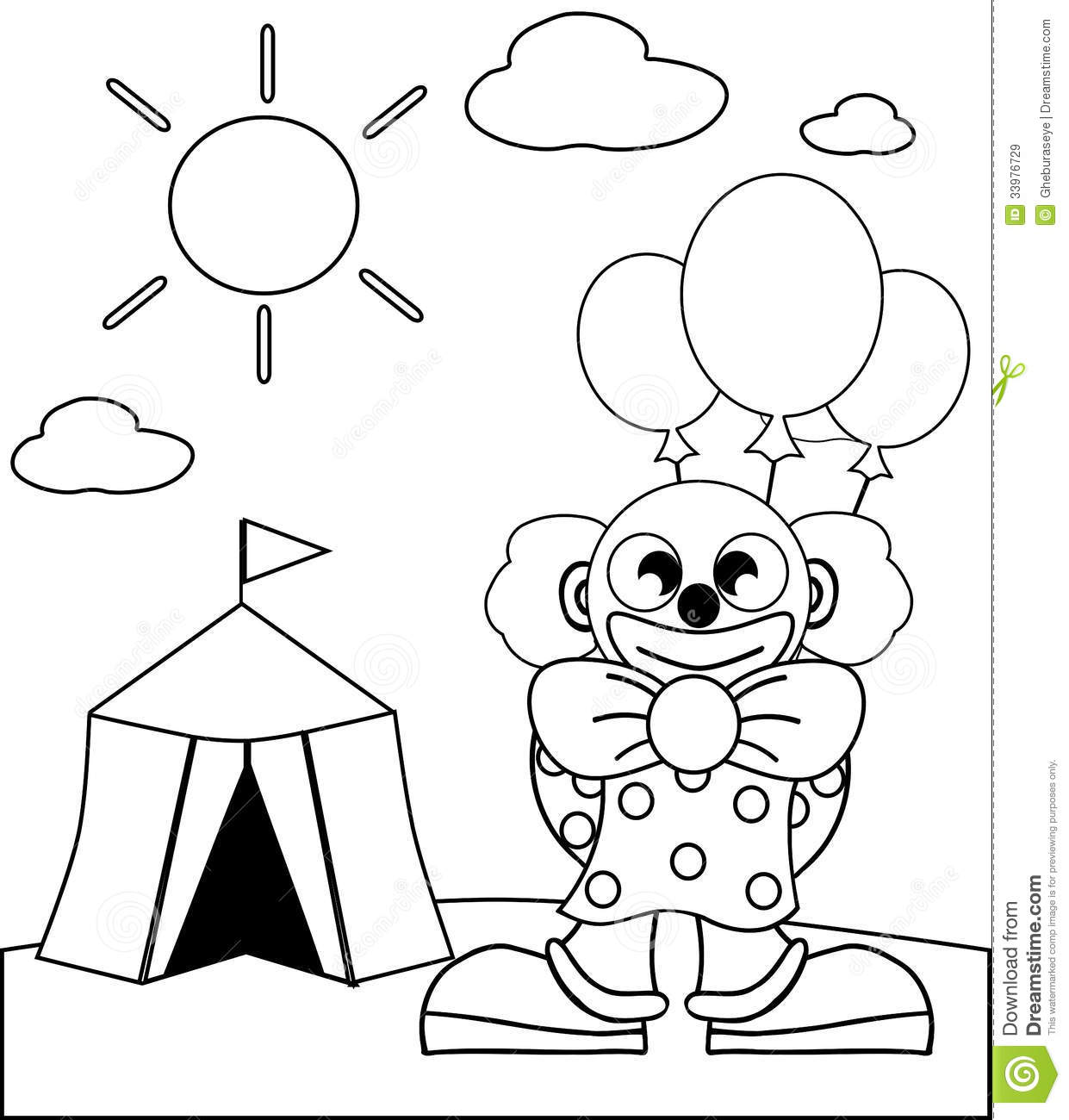 Coloring Clown With Balloons Royalty Free Stock Photo