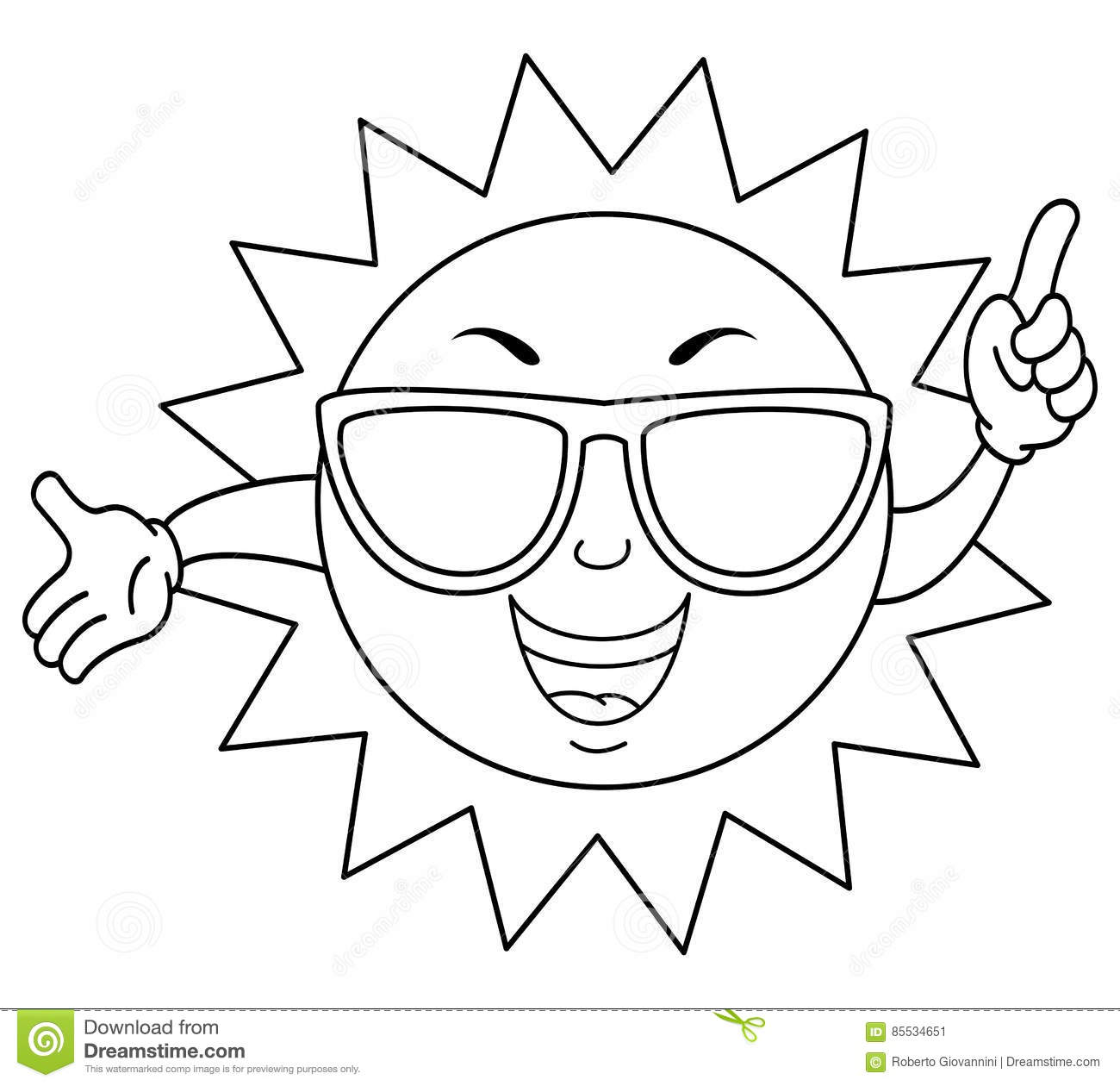 Coloring Cute Summer Sun With Sunglasses Stock Vector