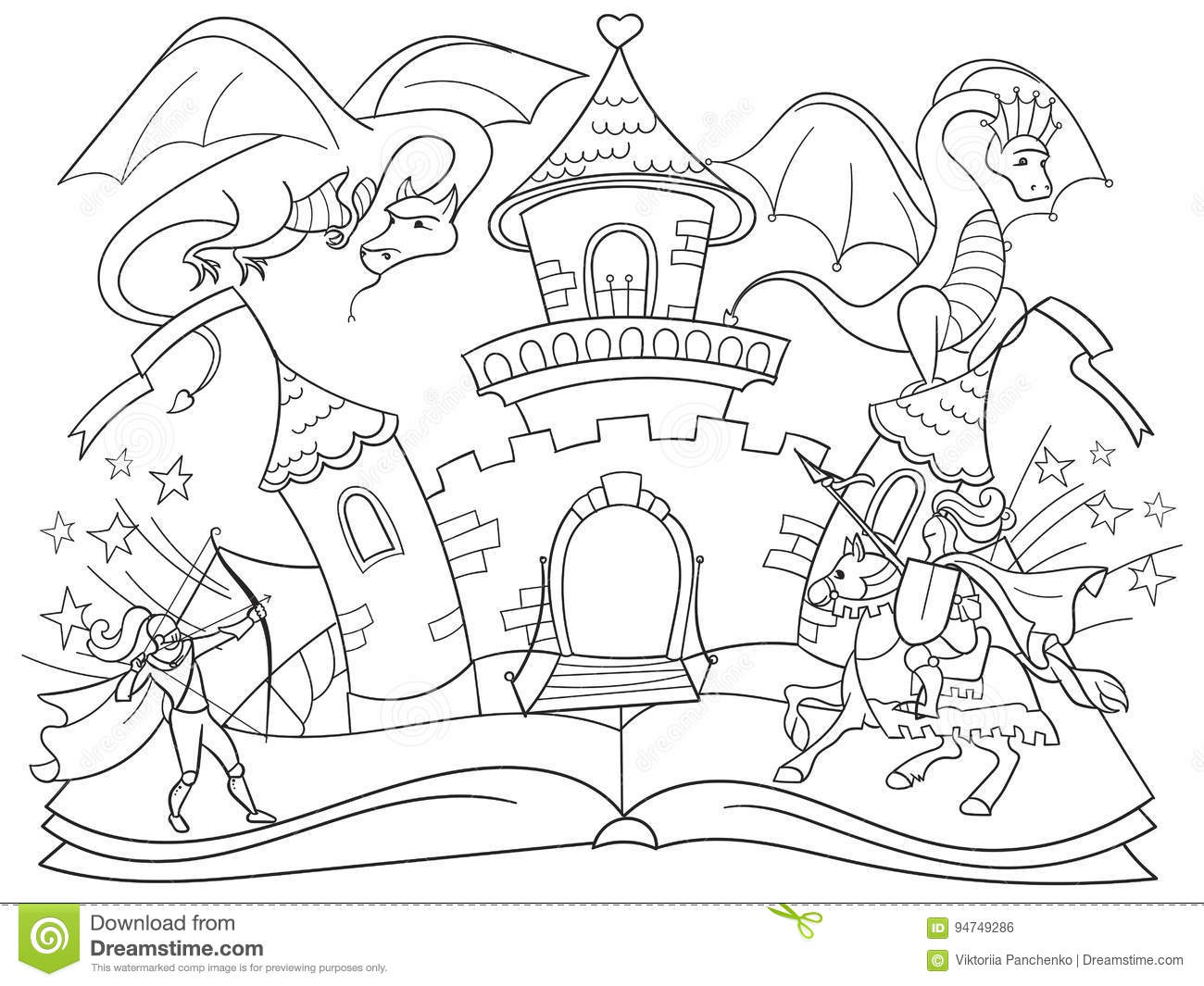 Coloring Fairy Open Book Tale Concept Kids Illustration