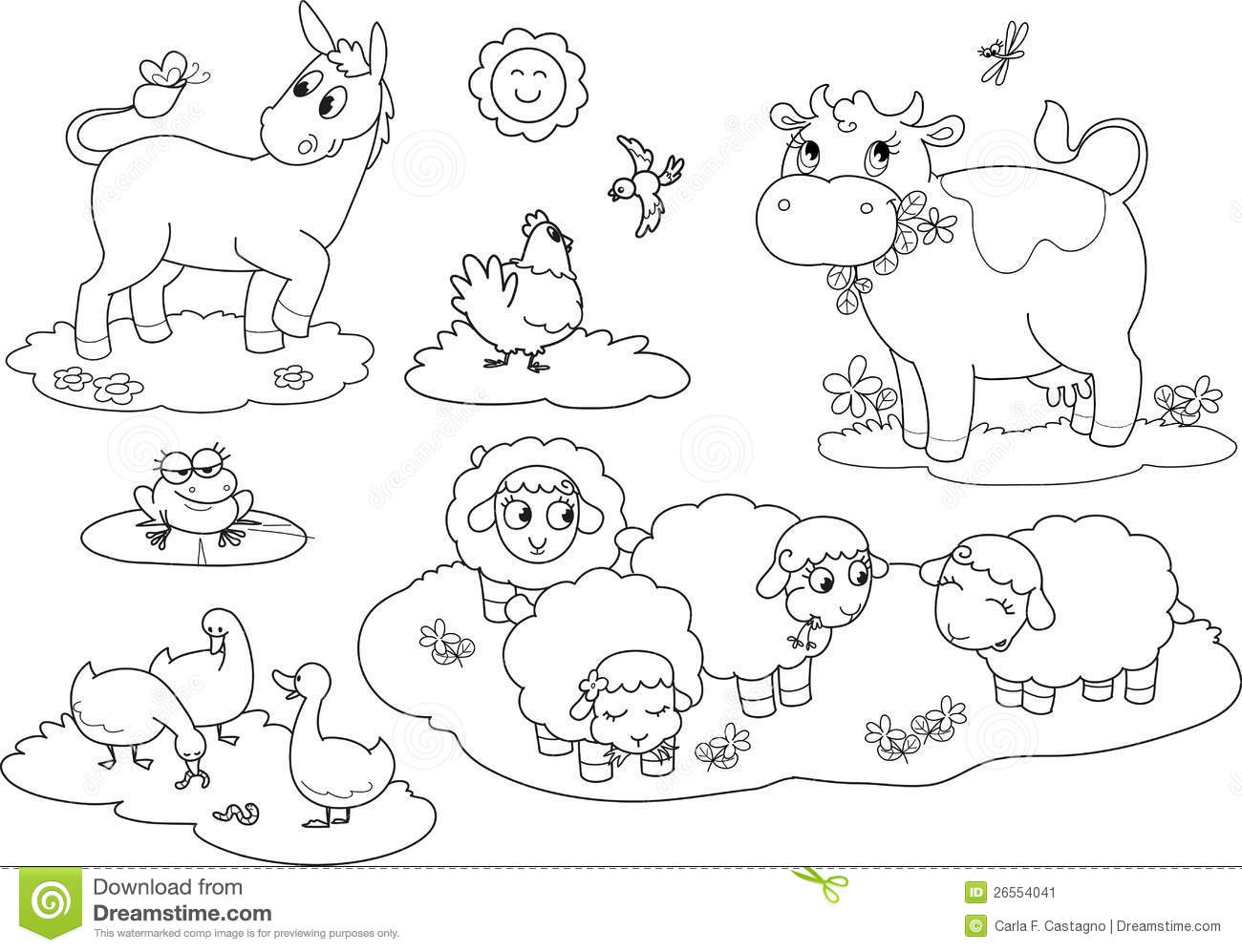 Coloring Farm Animals 2 Stock Vector Illustration Of