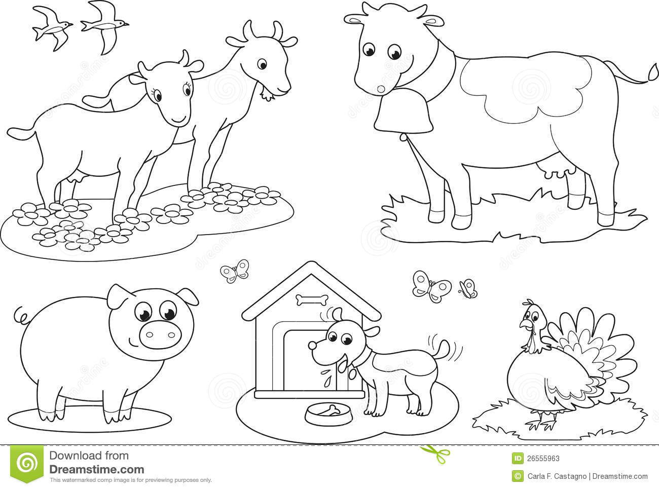 Coloring Farm Animals 2 Stock Vector Illustration Of Black