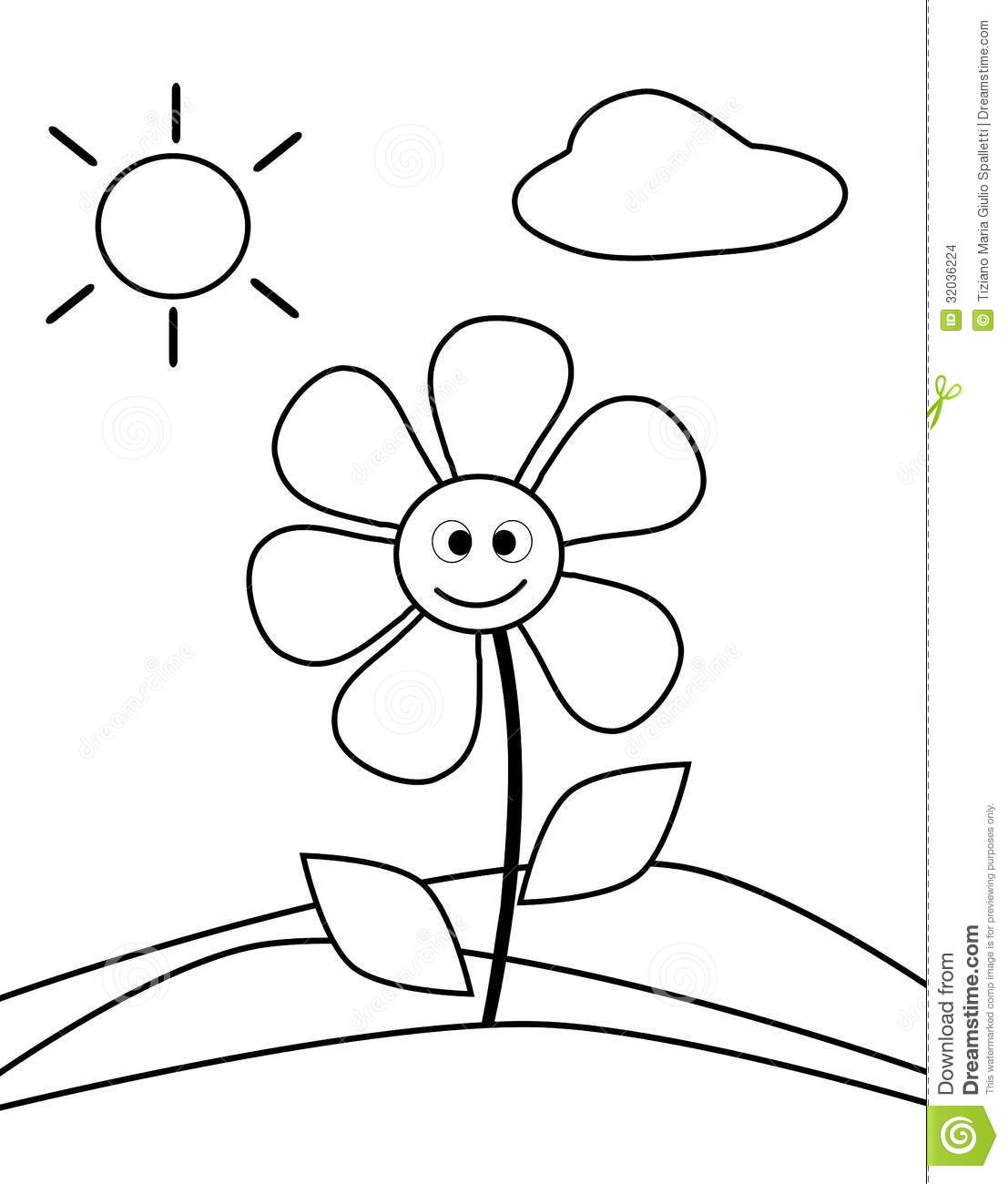 Coloring Flower Stock Photo Illustration Of Cartoon