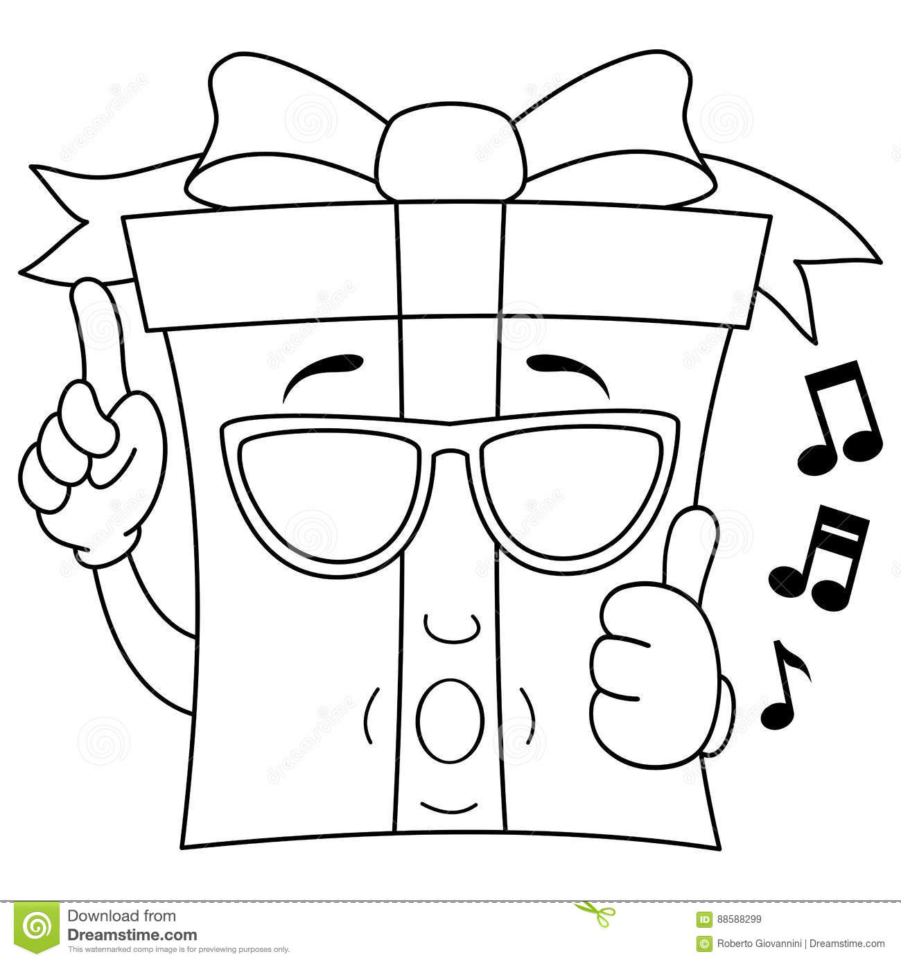 Coloring T Whistling With Sunglasses Stock Vector