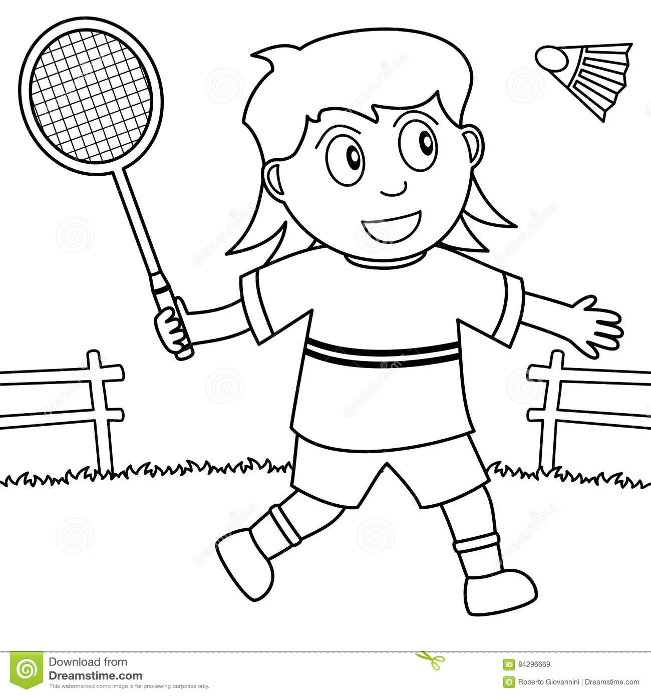 Coloring Girl Playing Badminton In The Park Stock Vector