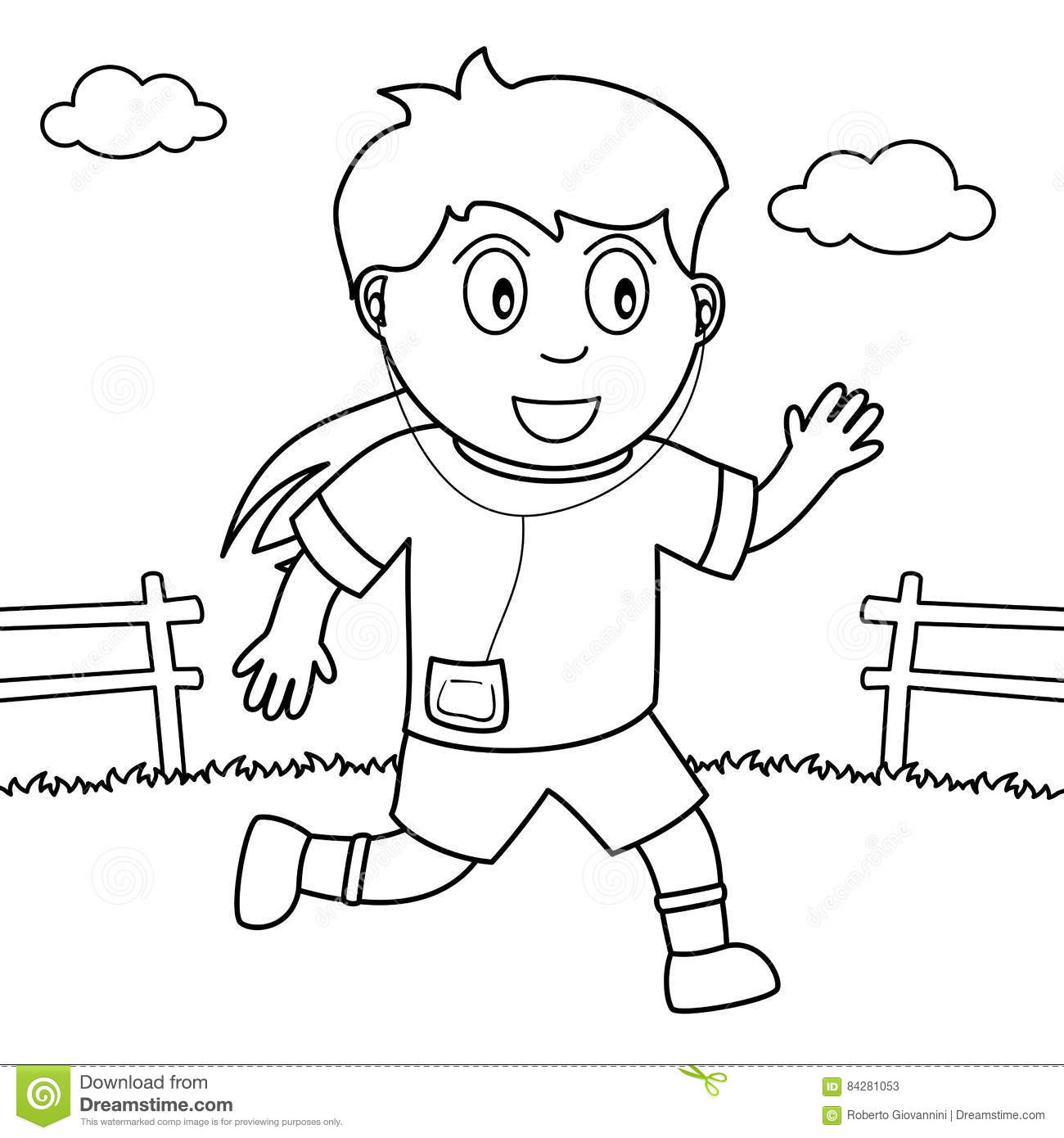 Coloring Girl Running Or Jogging In The Park Stock Vector