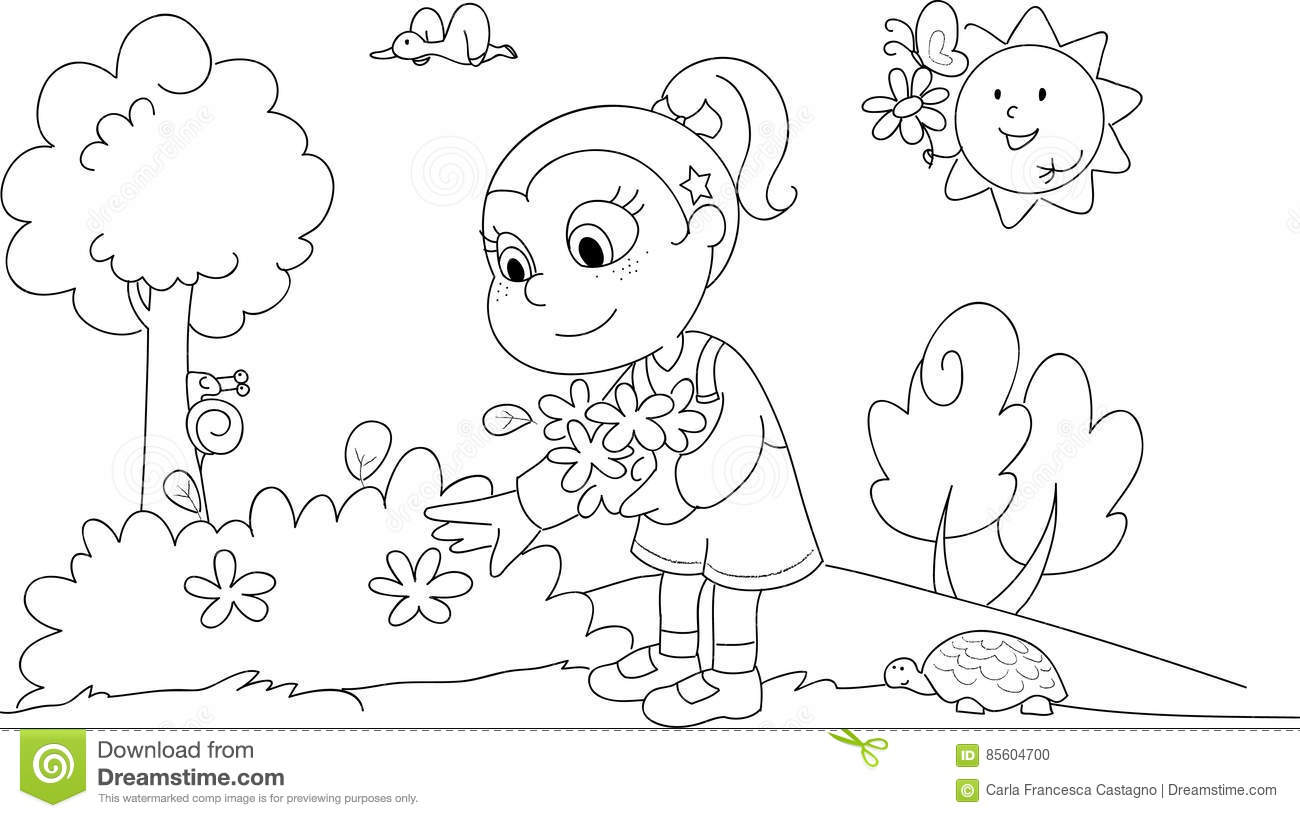 Coloring Girl In Spring Stock Vector Illustration Of