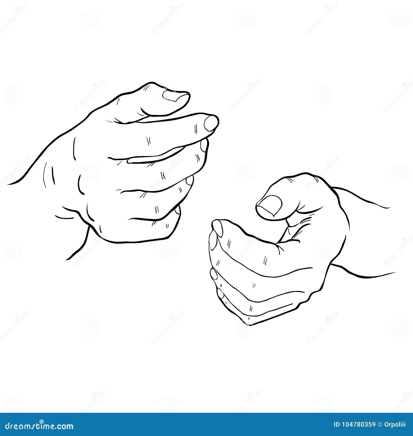 Coloring Hand Man S Bent Fingers Vector Illustration