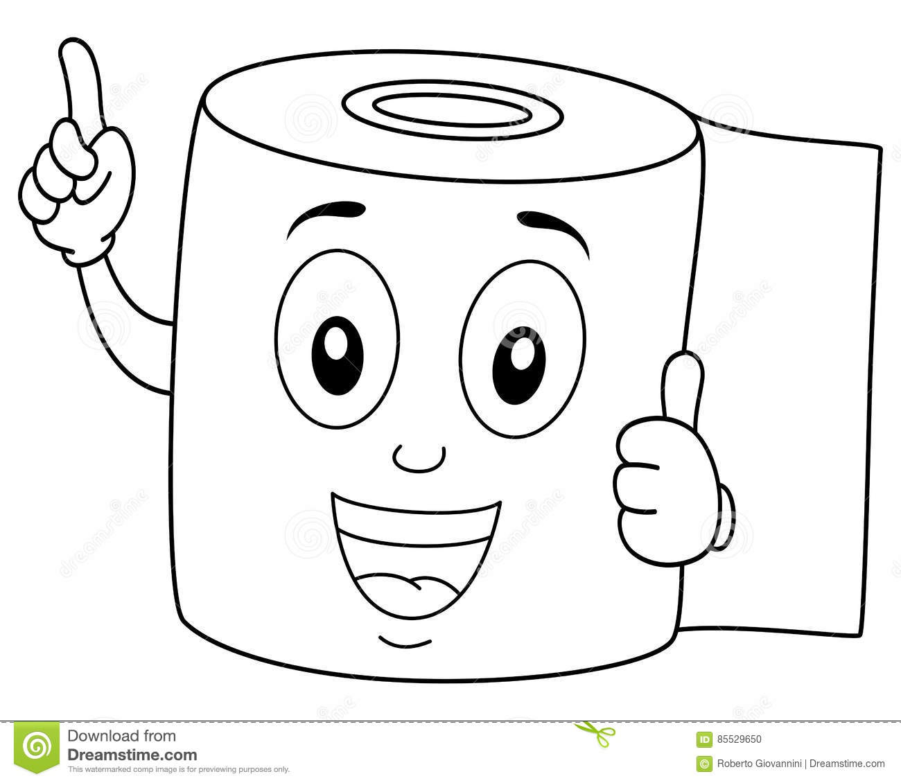 Coloring Happy Toilet Paper Smiling Stock Vector