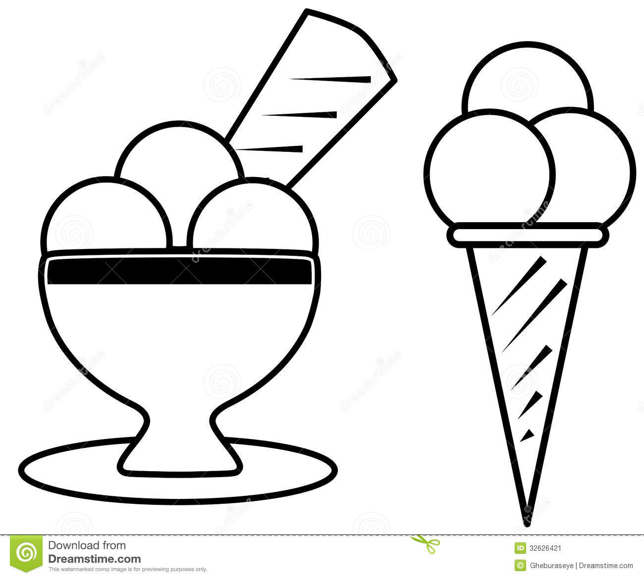 Coloring Ice Cream Stock Vector Illustration Of Color