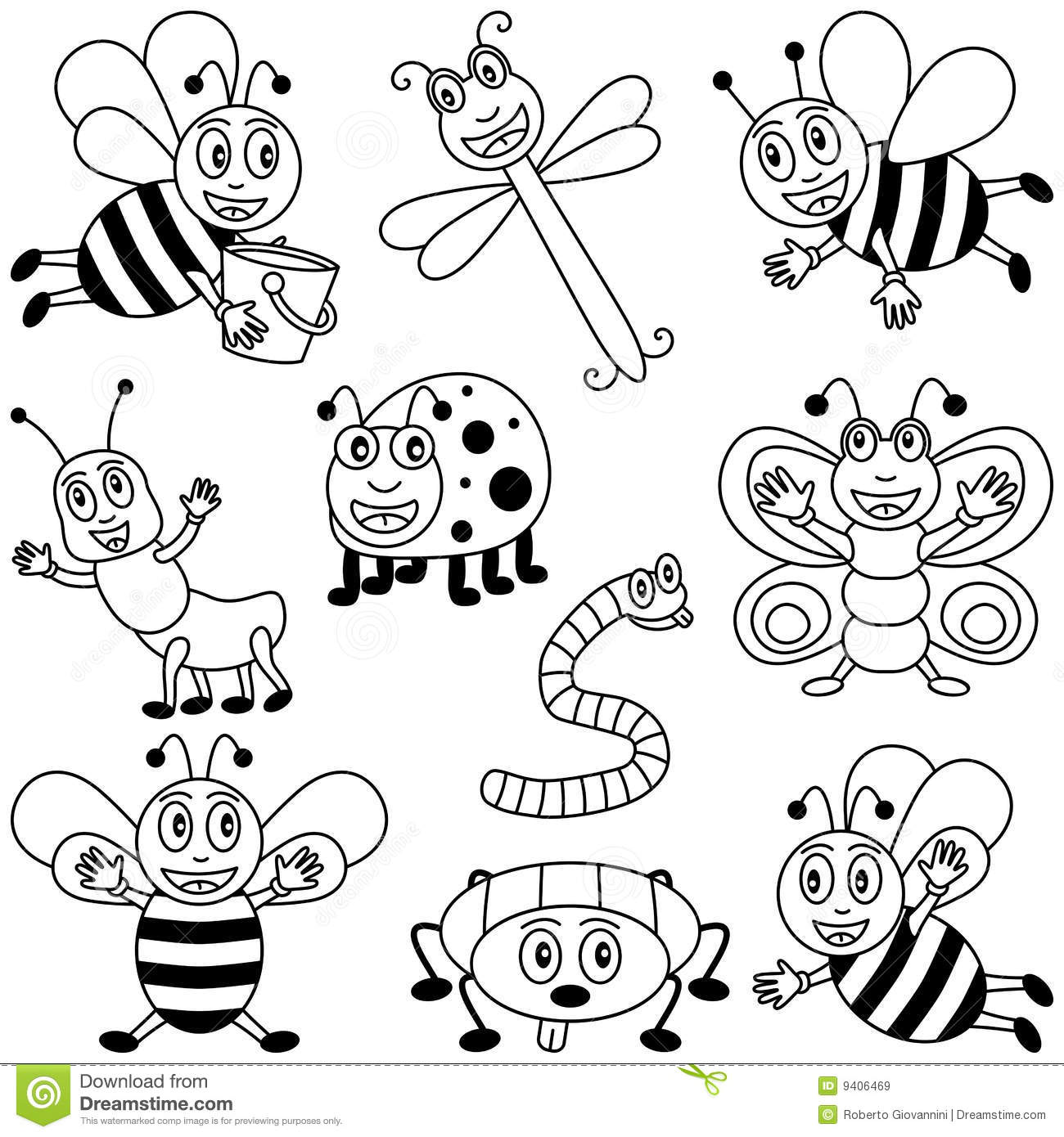Coloring Insects For Kids Stock Vector Illustration Of Animals