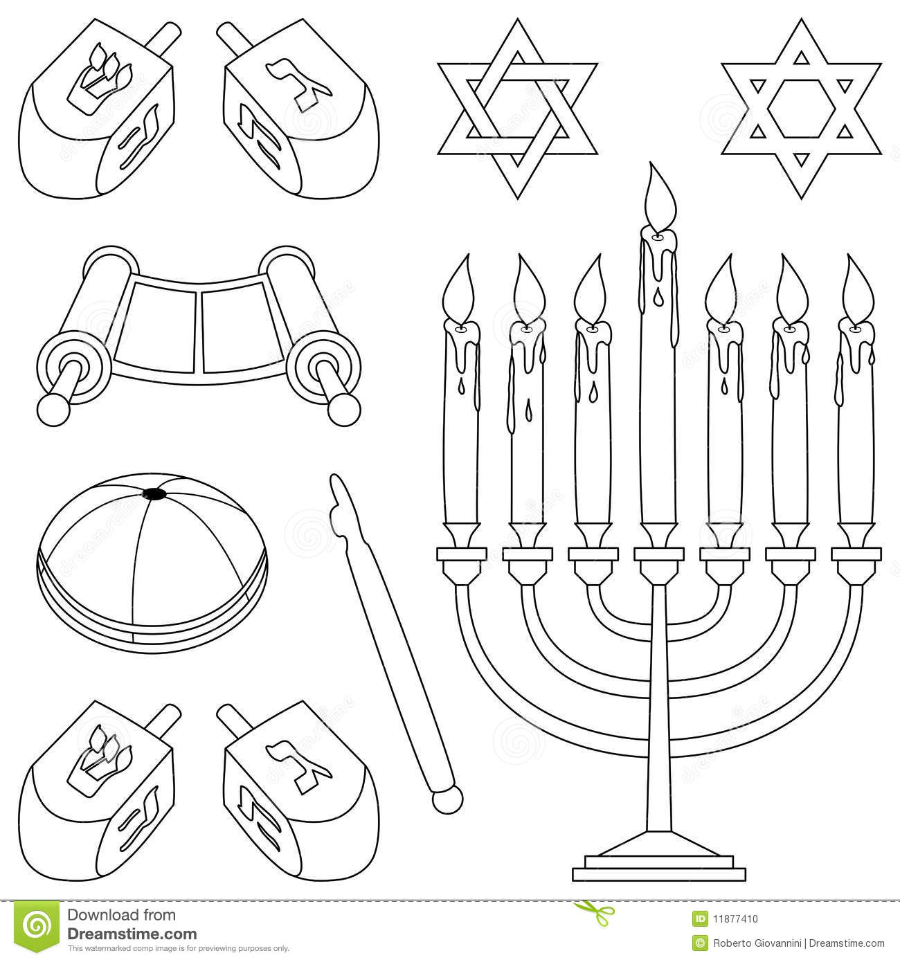 Coloring Judaism Elements Stock Vector Illustration Of