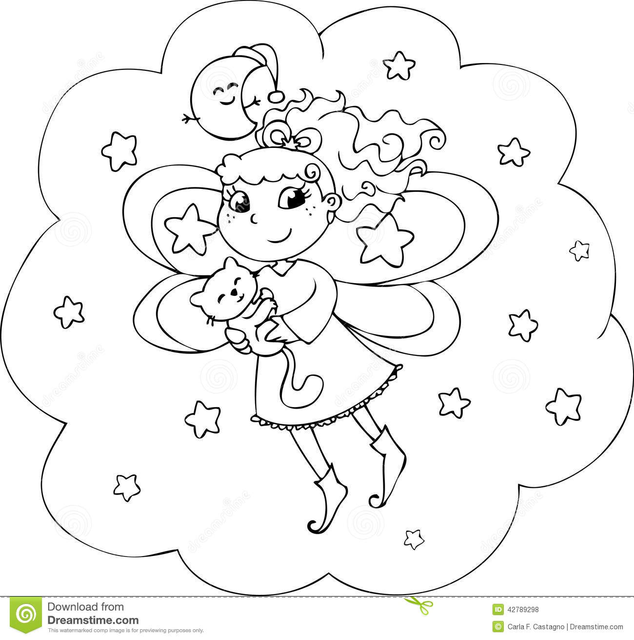 Coloring Night Fairy Girl Stock Illustration Image Of