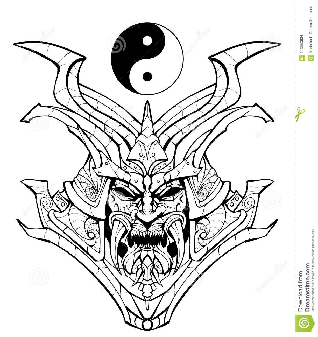 Coloring Page Sinister Samurai Mask Stock Illustration