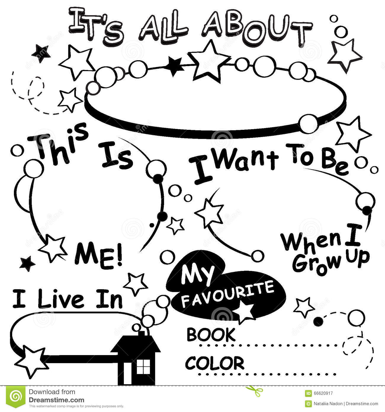 Coloring Page All About Me Vector Editable Stock Vector