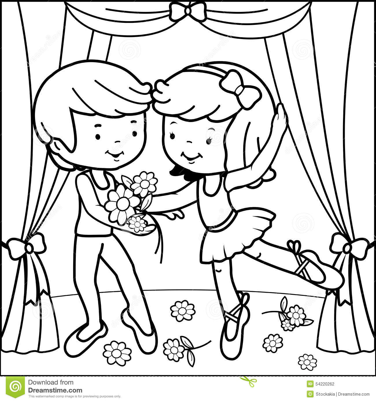 Coloring Page Ballet Dancers Stock Vector