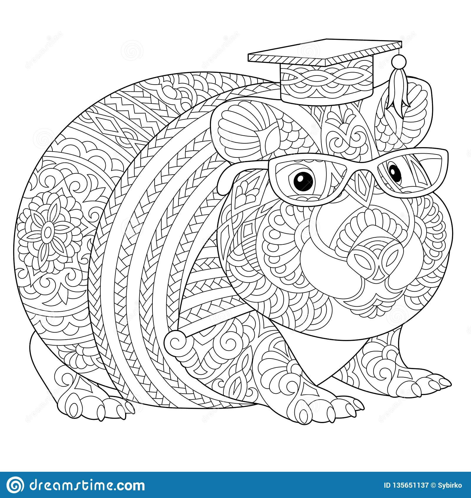 Zentangle Guinea Pig Coloring Page Stock Vector