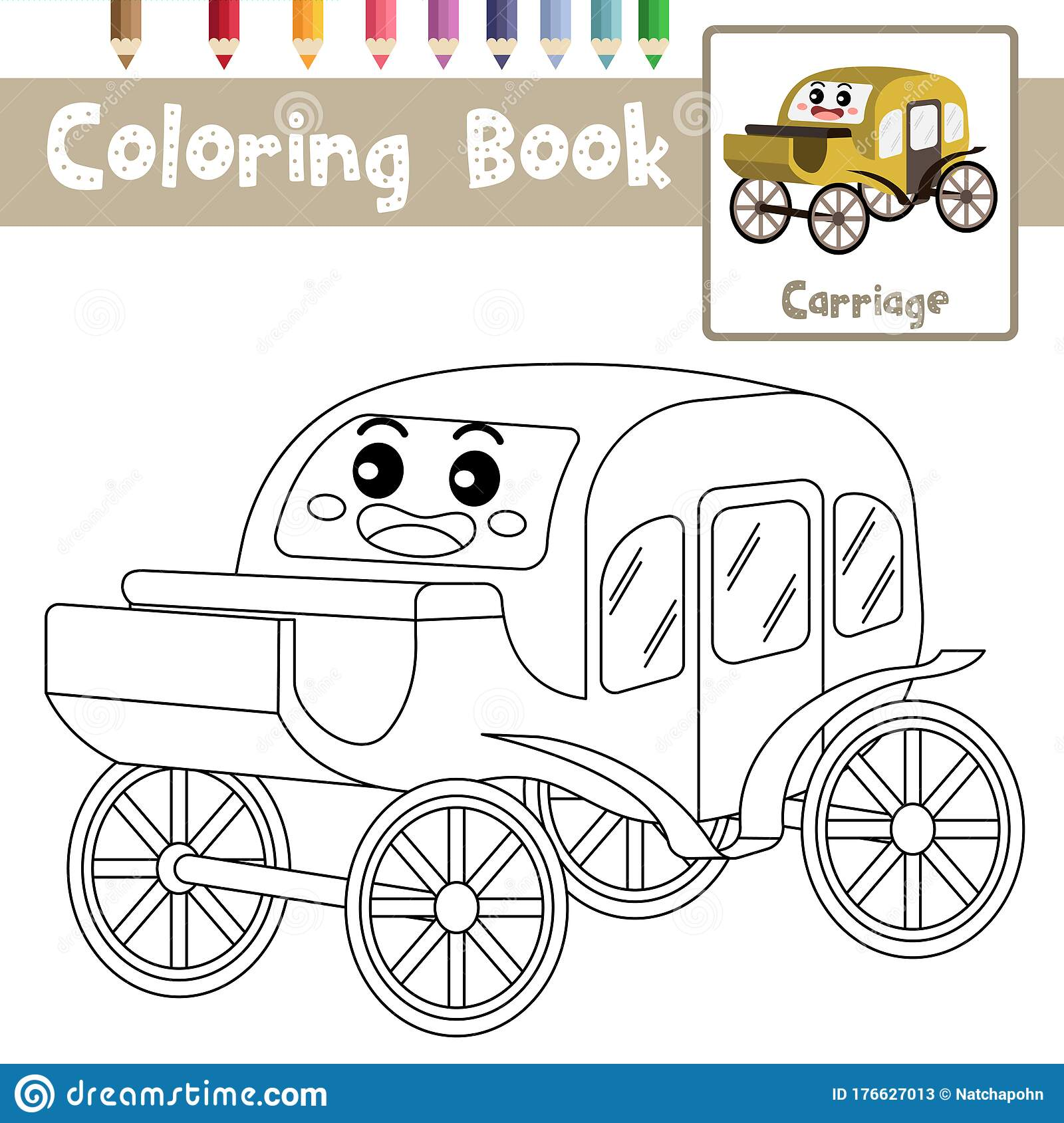 Coloring Page Carriage Cartoon Character Perspective View