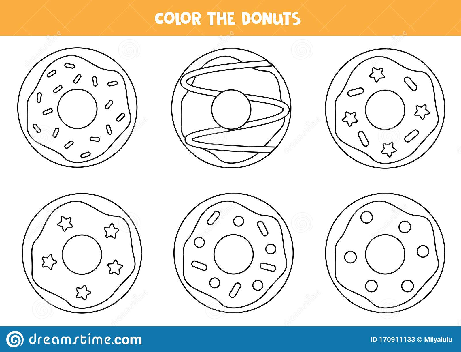 Coloring Page Of Cartoon Donuts Game For Kids Stock