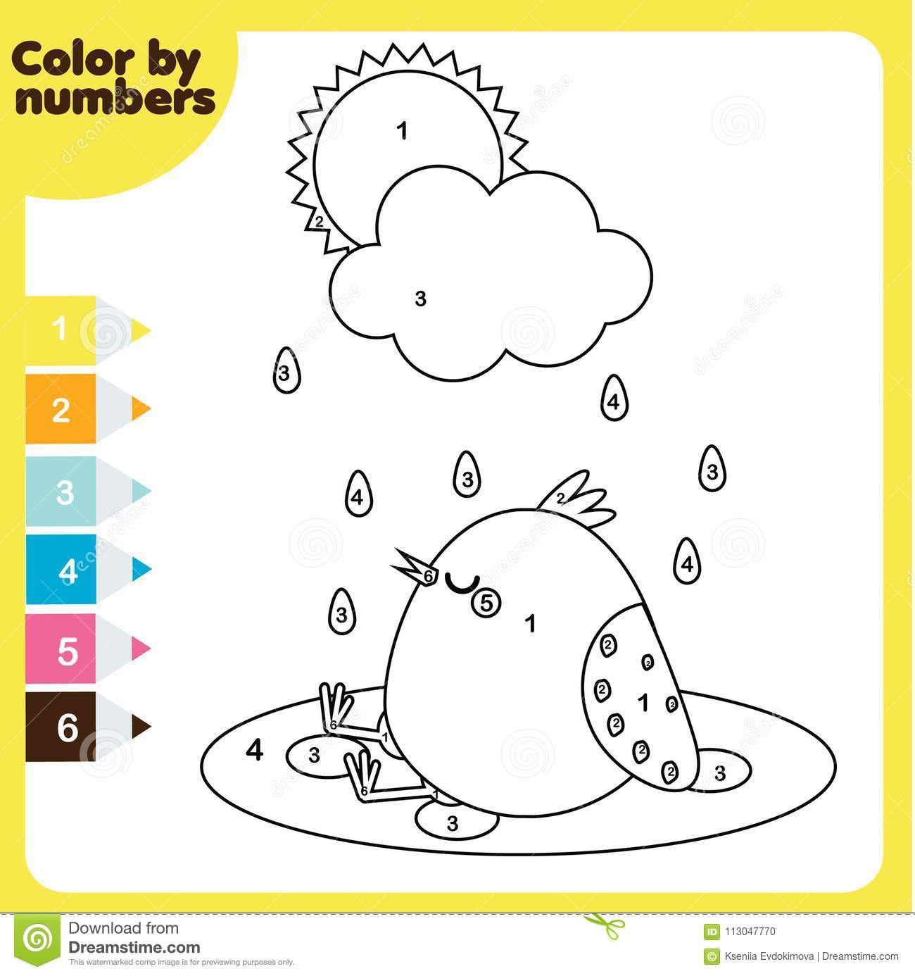 Coloring Page With Chicken Color By Numbers Printable