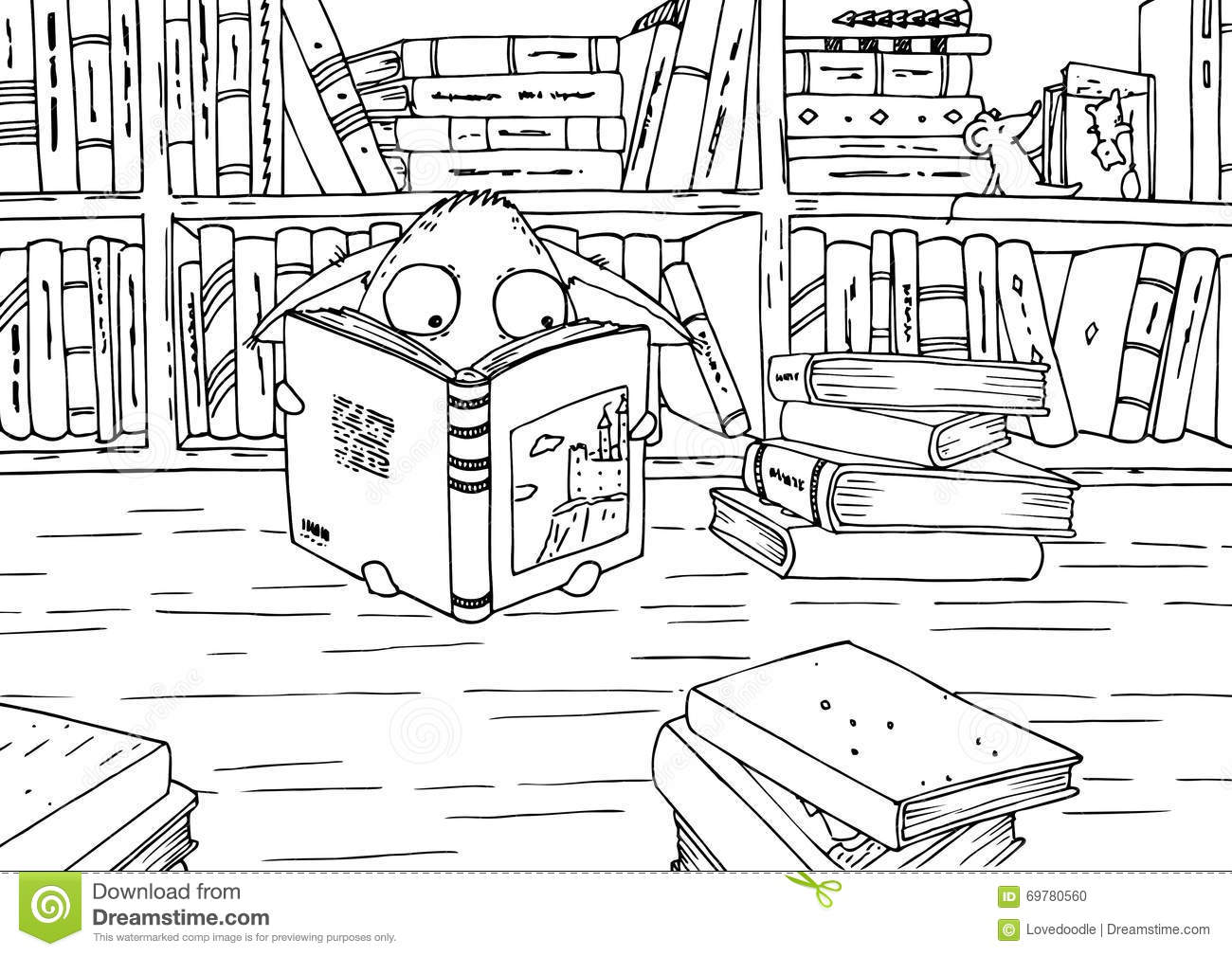 Coloring Page For Children Little Monster In Library