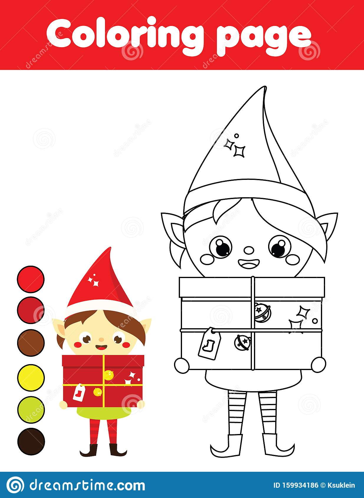 Coloring Page With Christmas Elf Printable Activity For