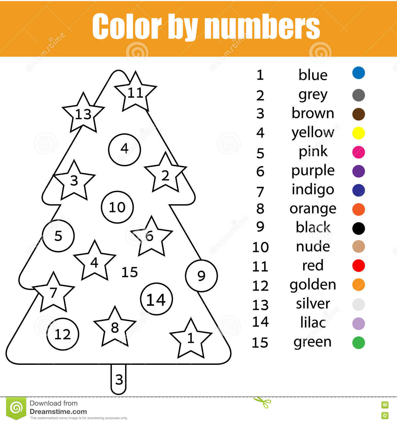 Coloring Page With Christmas Tree Color By Numbers Stock