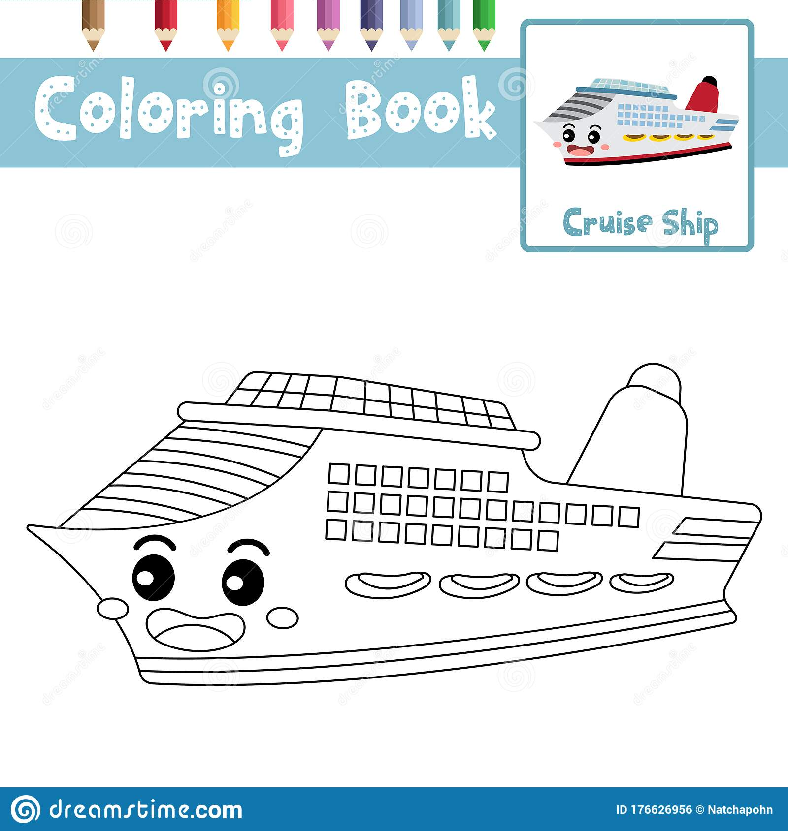 Coloring Page Cruise Ship Cartoon Character Perspective