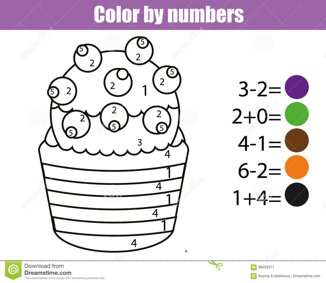 Paint Color By Addition And Subtraction Numbers Vector
