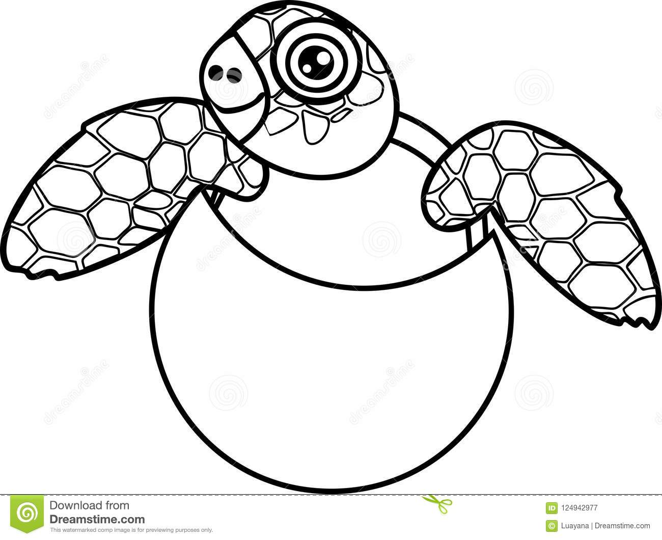 Coloring Page Cute Cartoon Sea Turtle Hatching Out Of Egg