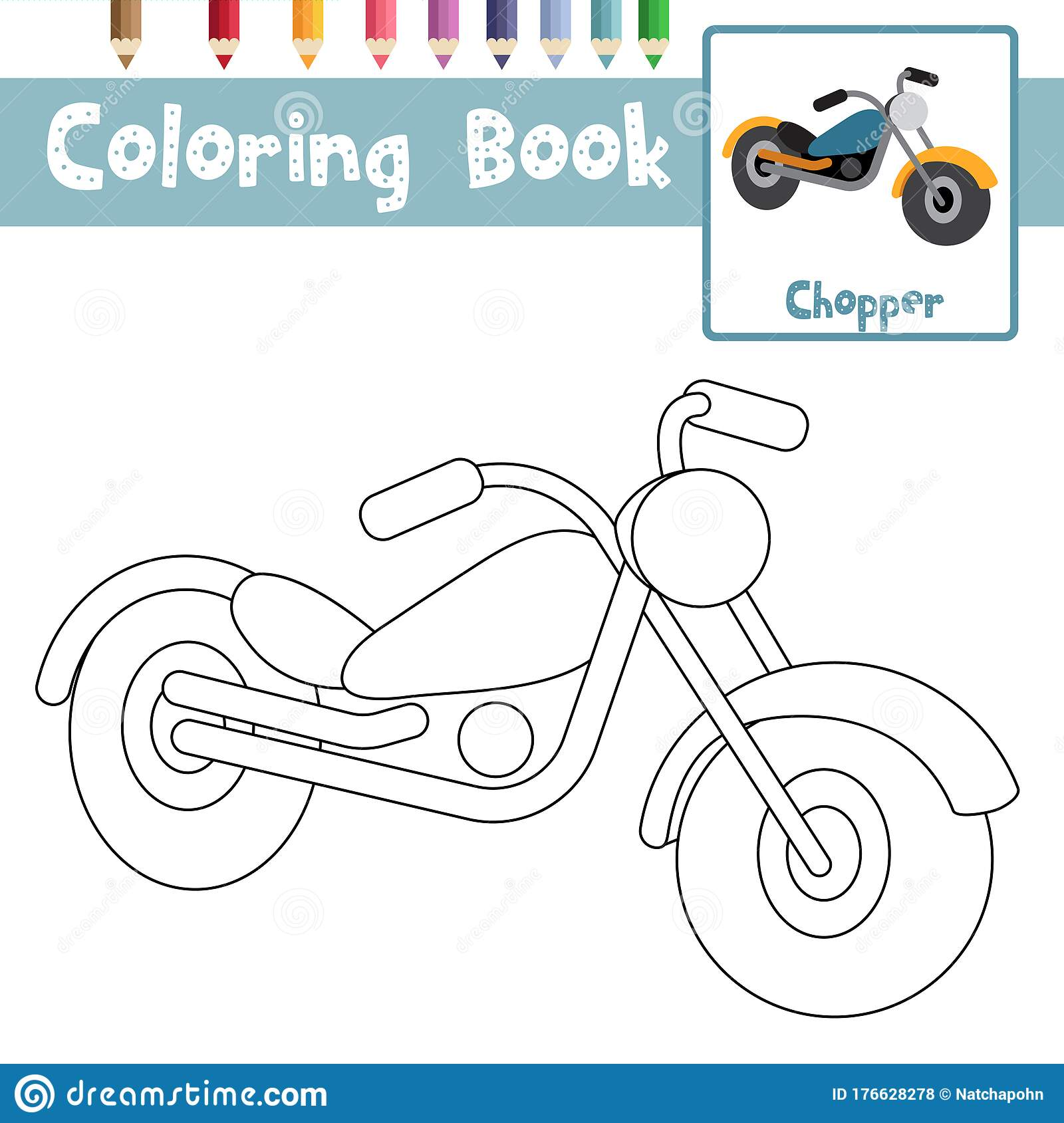 Coloring Page Chopper Cartoon Character Perspective View