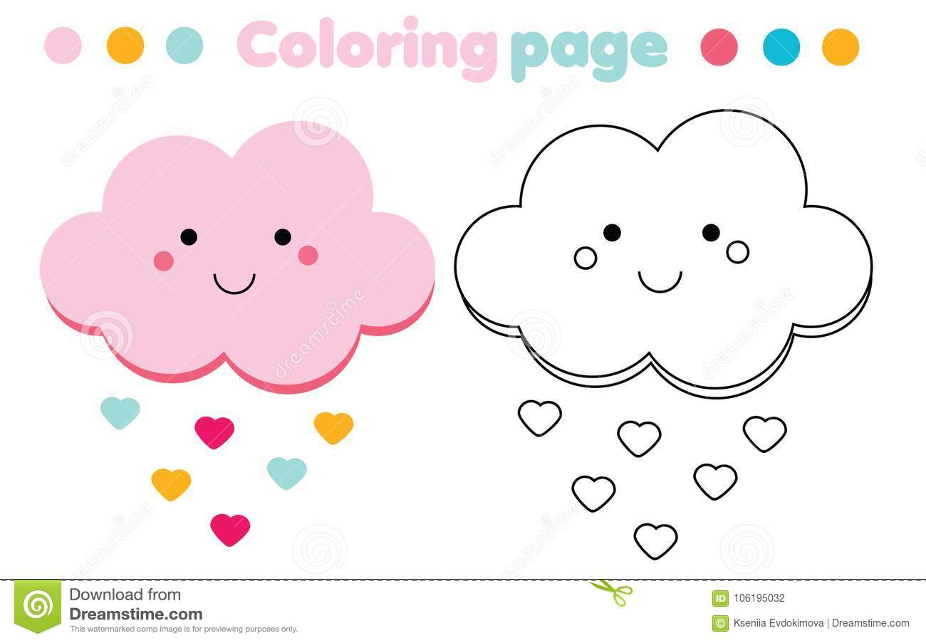 Coloring Page With Cute Cloud Drawing Kids Game