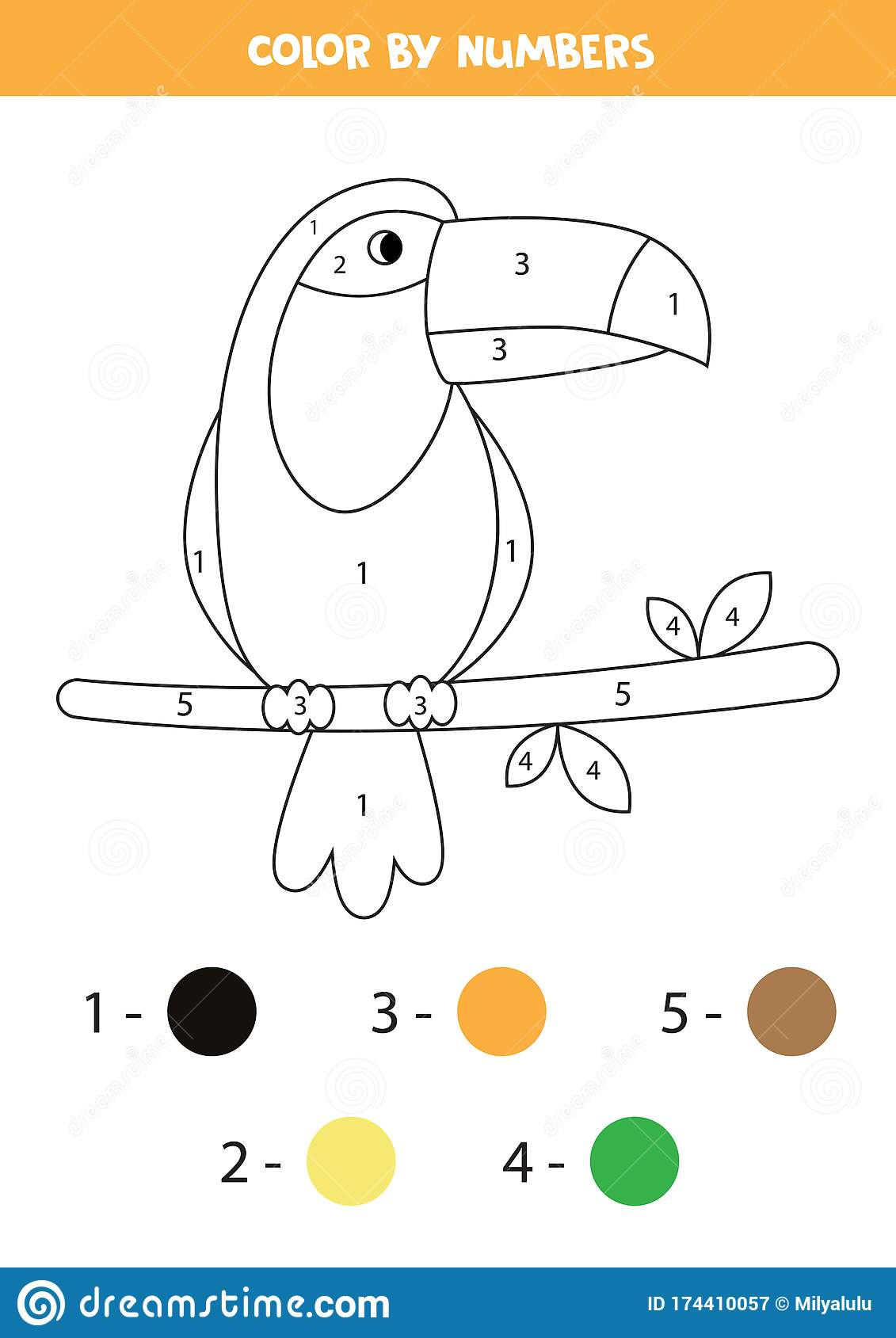 Coloring Page With Cute Toucan Math Game For Kids Stock