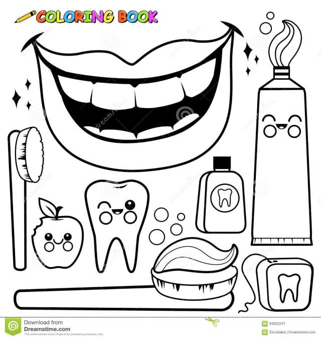Coloring Page Dental Hygiene Vector Set Stock Illustrations – 15