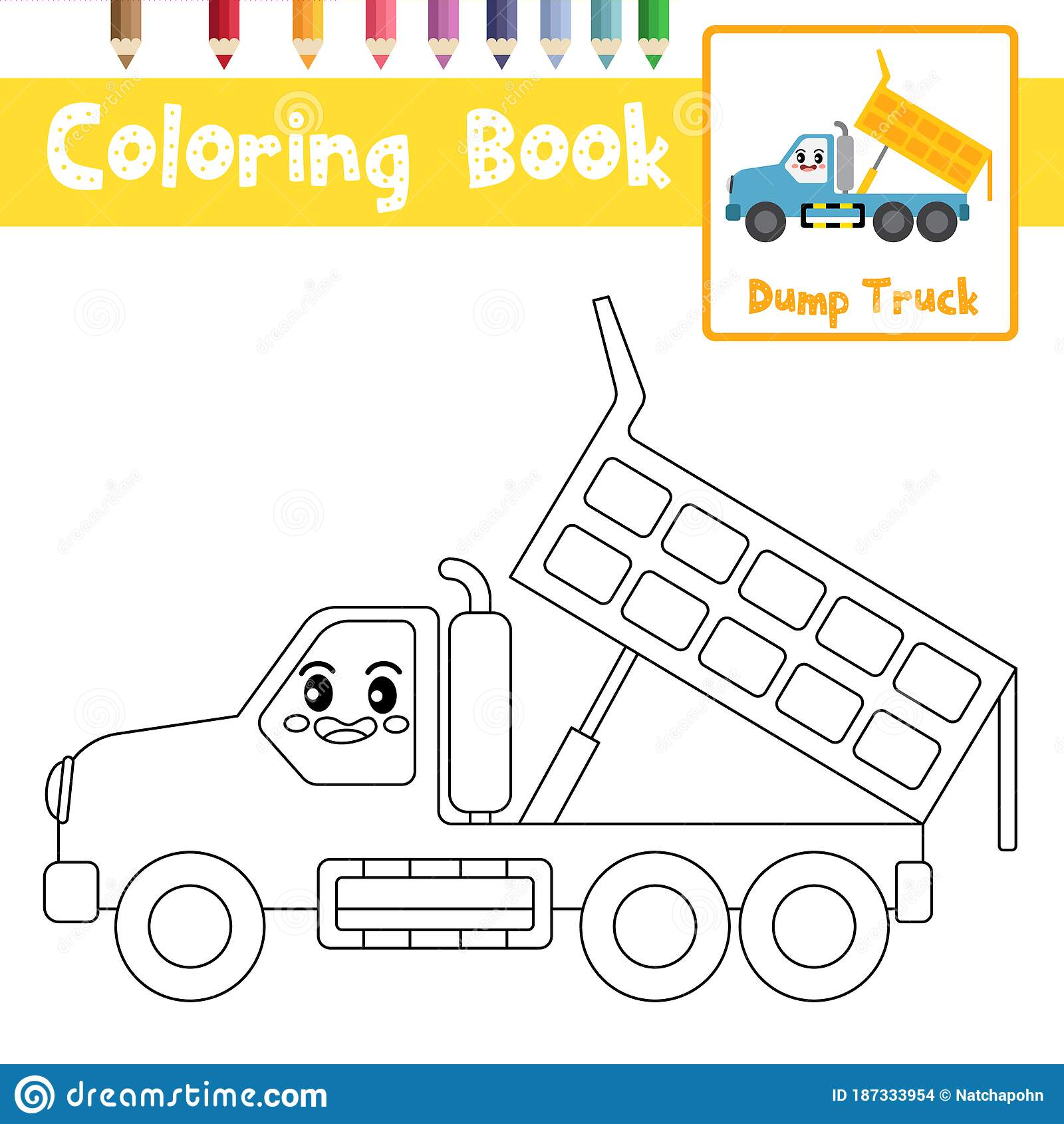 Coloring Page Dump Truck Cartoon Character Side View