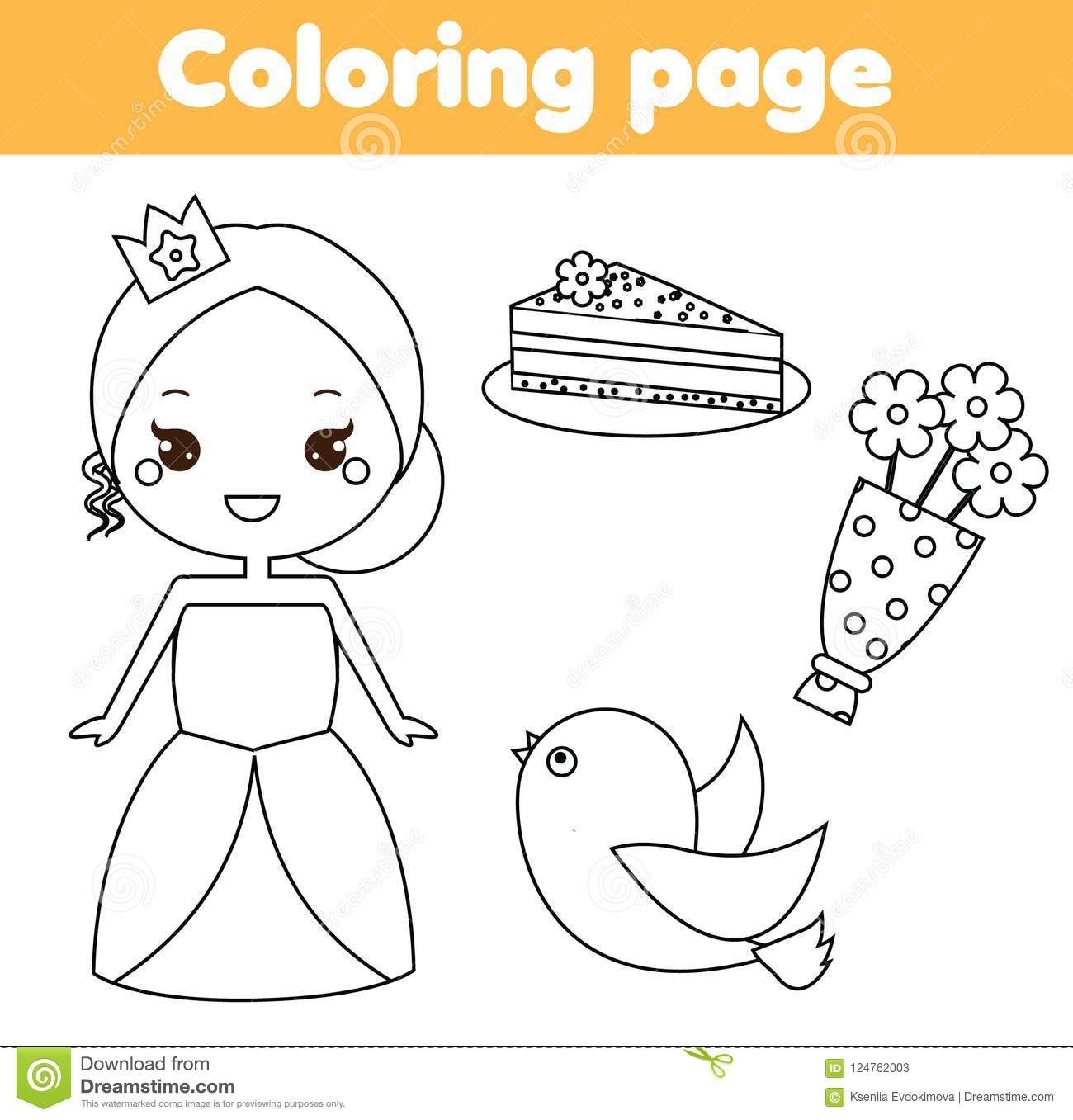 Coloring Page Educational Children Game Princess Theme