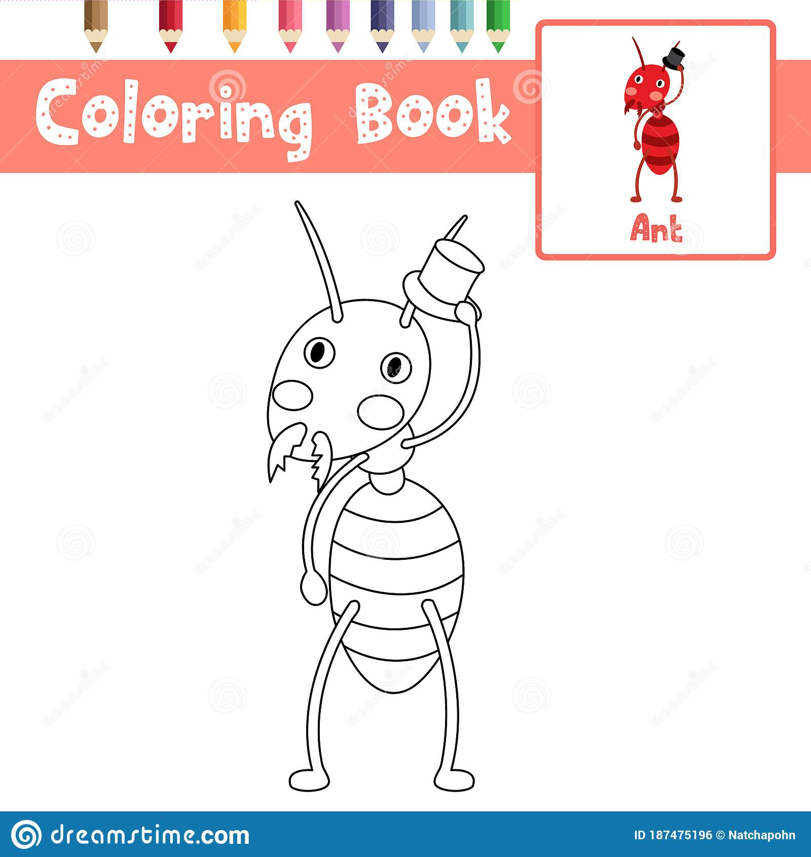 Coloring Page Fire Ant With Black Hat Vector Illustration