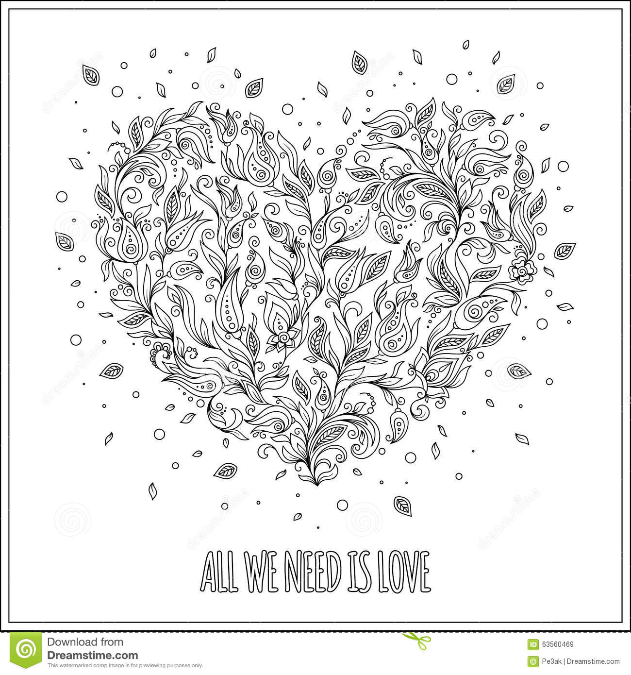 Coloring Page Flower Heart St Valentines Day Greeting